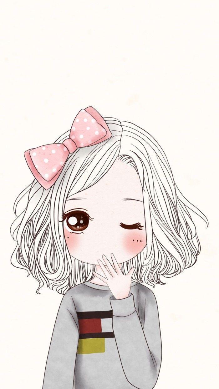 iphone cute girl cartoon wallpaper hd