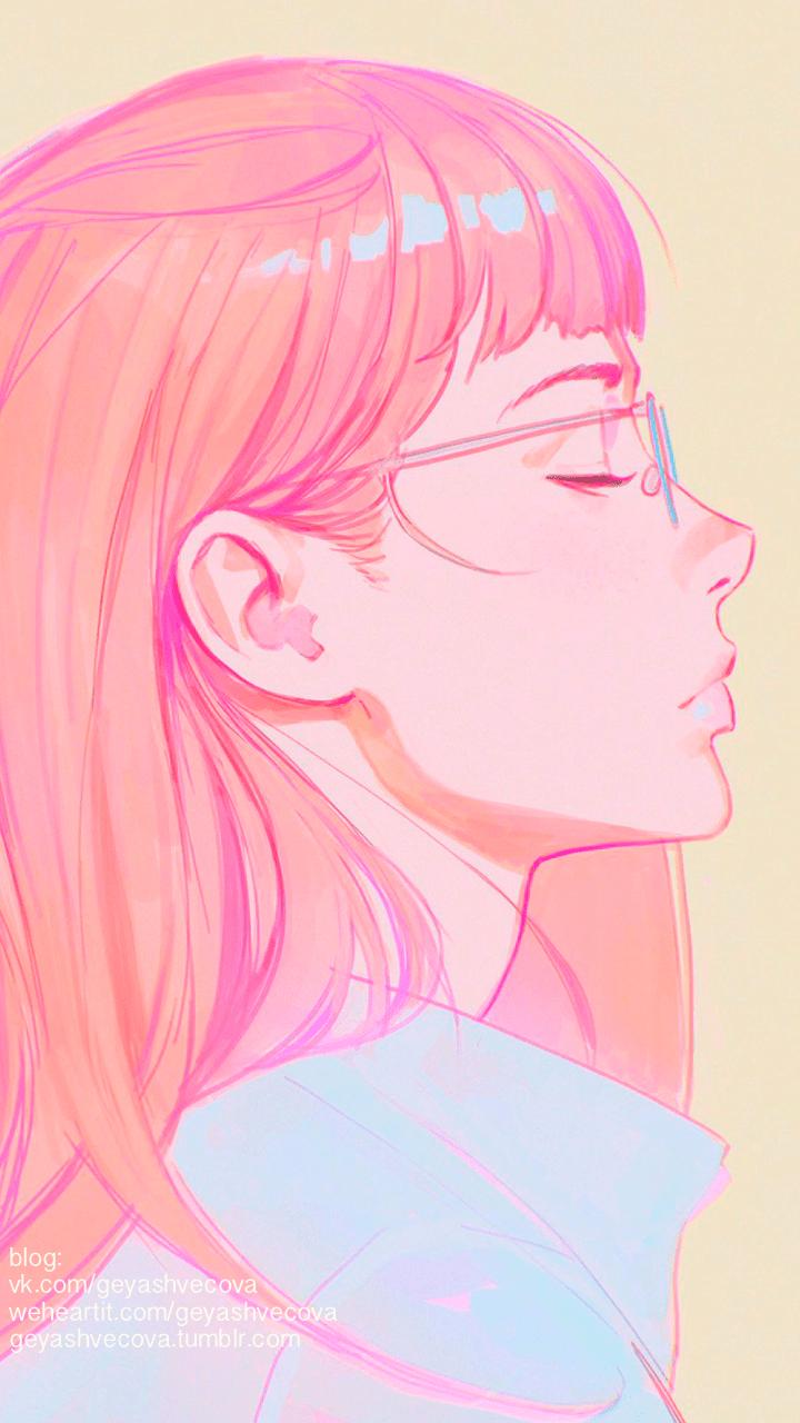 Hình ảnh Anime và Thẩm mỹ 720x1280 - Vẽ Cô gái Thẩm mỹ Pastel