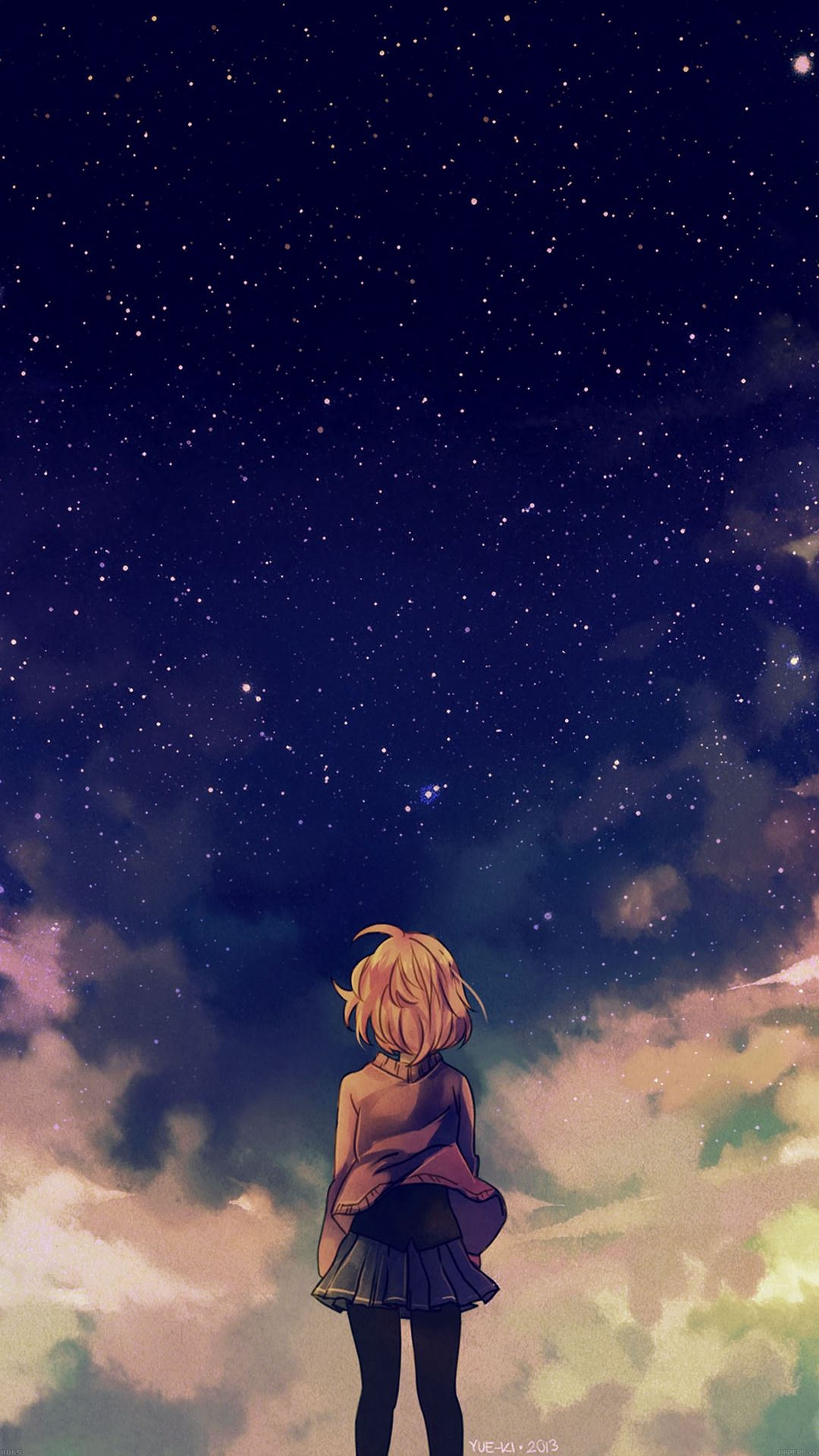 1080x1920 Starry Space Illust Anime Girl IPhone 6 Wallpaper | IPhone  Wallpaper .