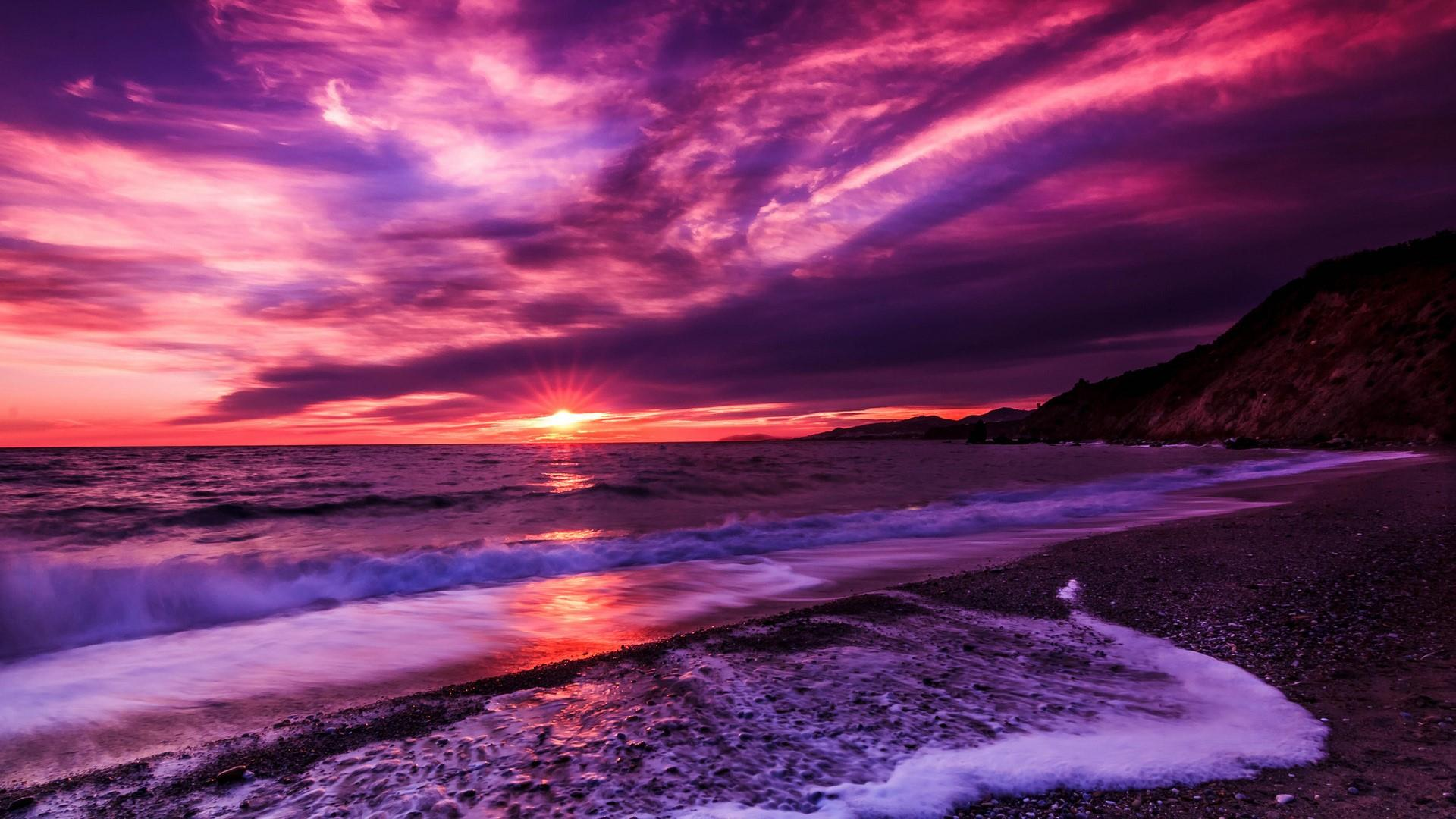 Purple Sunset Wallpapers Top Free Purple Sunset Backgrounds Wallpaperaccess