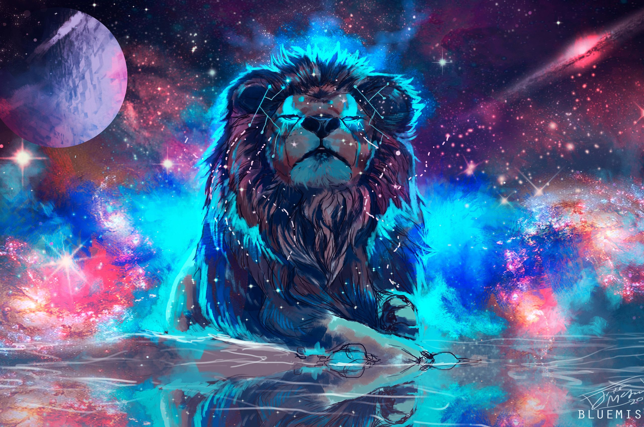 Cool Lion Galaxy Wallpapers Top Free Cool Lion Galaxy Backgrounds Wallpaperaccess
