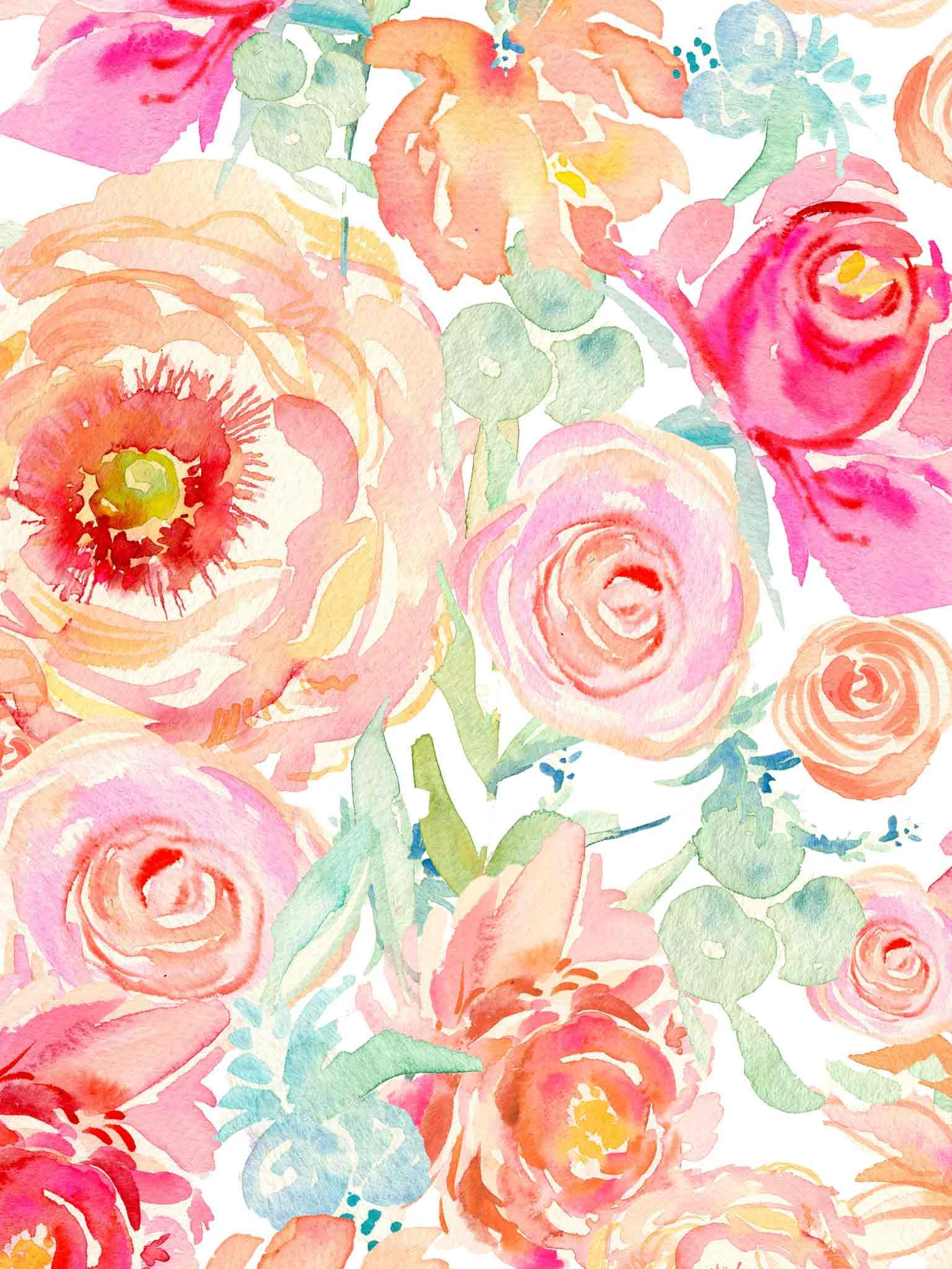 Watercolor Floral Iphone Wallpapers Top Free Watercolor Floral