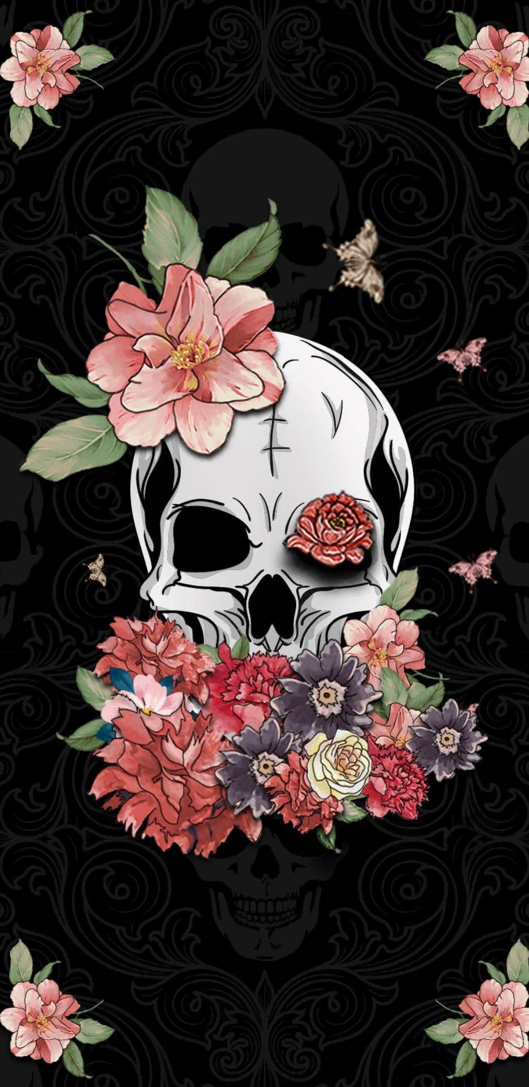 Floral Skull Wallpapers Top Free Floral Skull Backgrounds