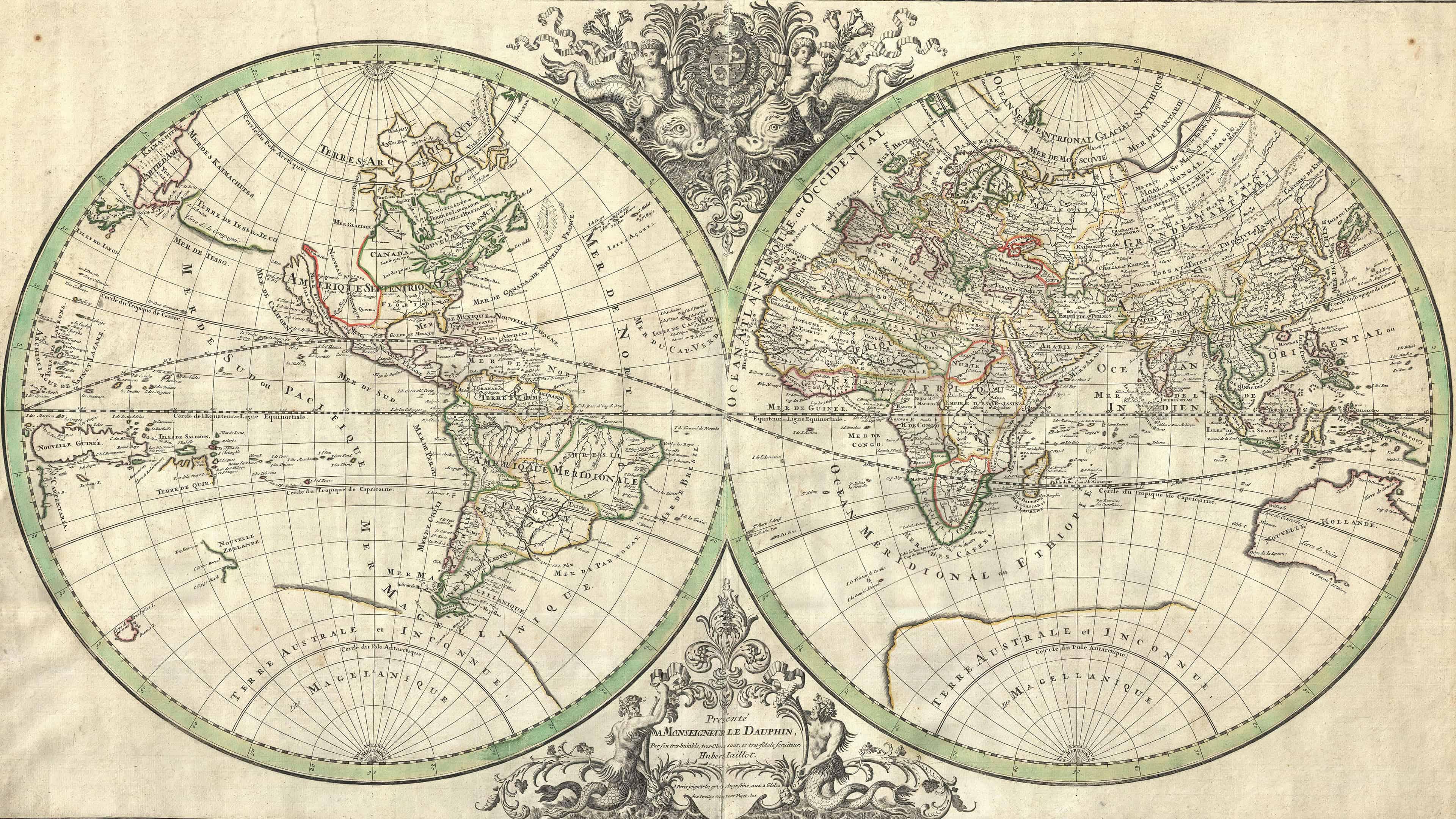 Hình nền UHD 4K của Bản đồ thế giới cổ điển Pháp 3840x2160