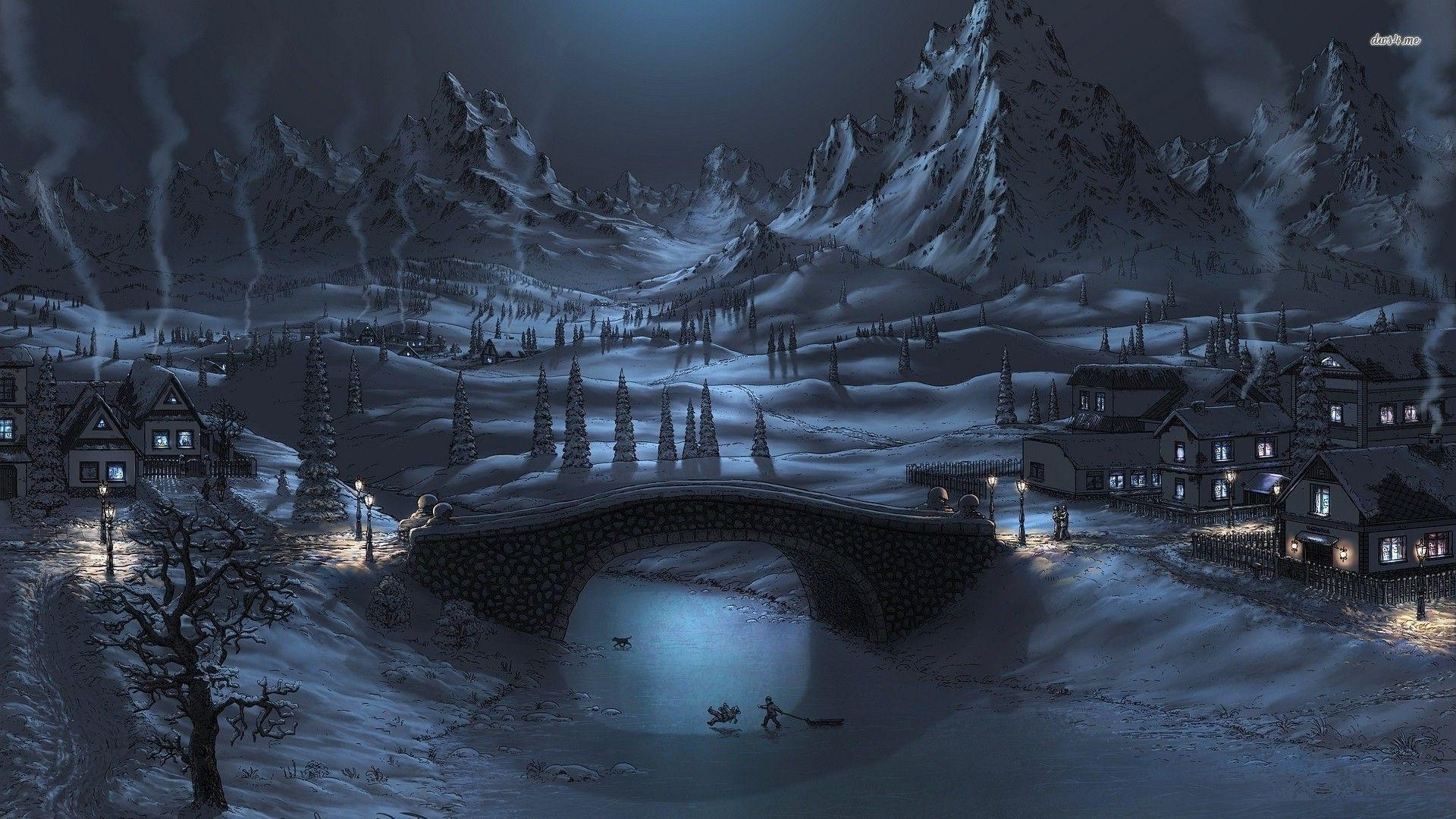 Winter Night Wallpapers Top Free Winter Night Backgrounds Wallpaperaccess