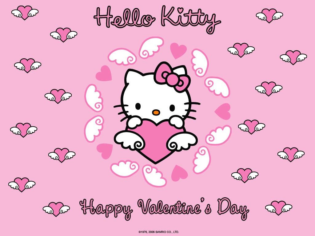 1024x768 Hello Kitty Happy Valentines Day Wallpaper #HelloKitty