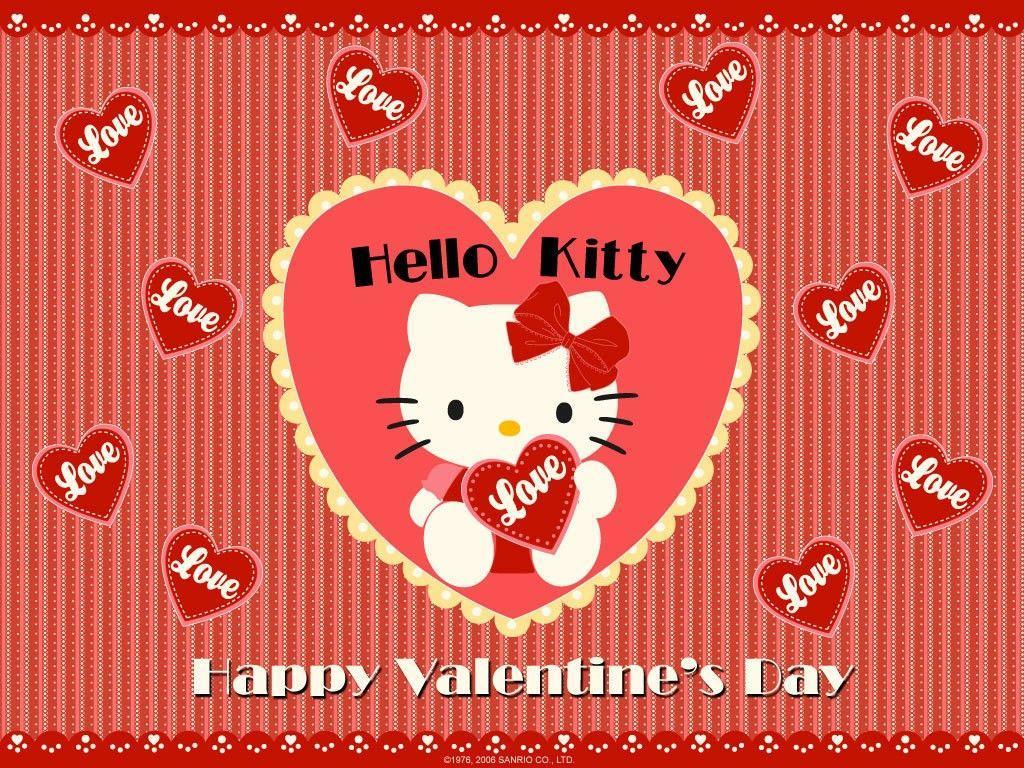 1024x768 Happy Valentine Day Hello Kitty Wallpaper Download High