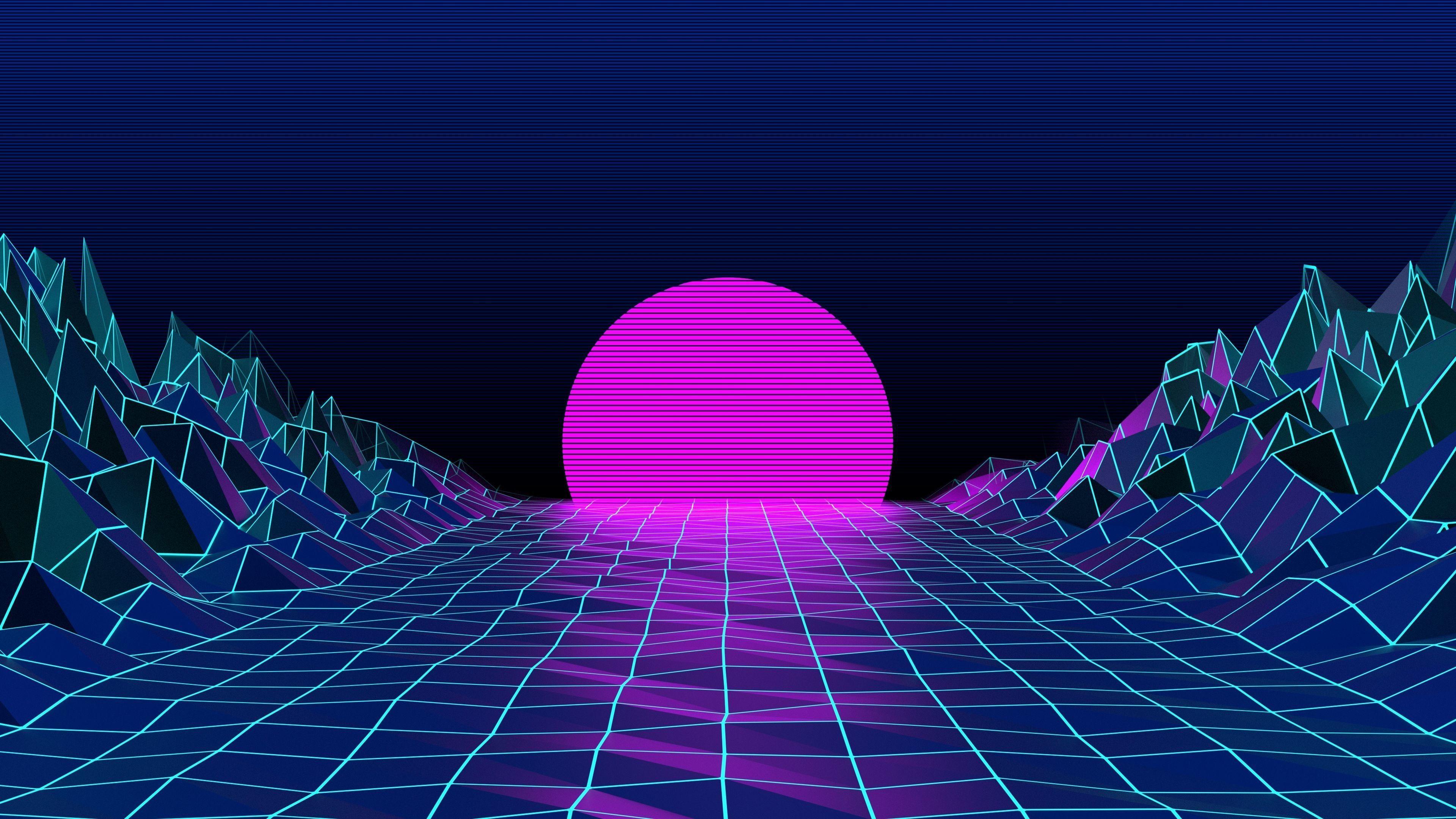 Hình nền 3840x2160 Neon 80S