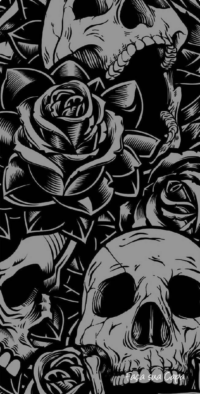 Black Skull With Rose Wallpapers Top Free Black Skull With