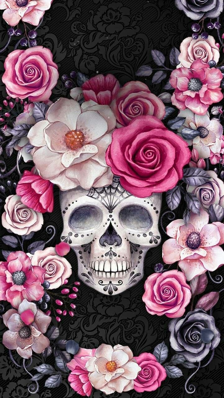 Skull And Roses Wallpaper Best Wallpaper Foto In 2019