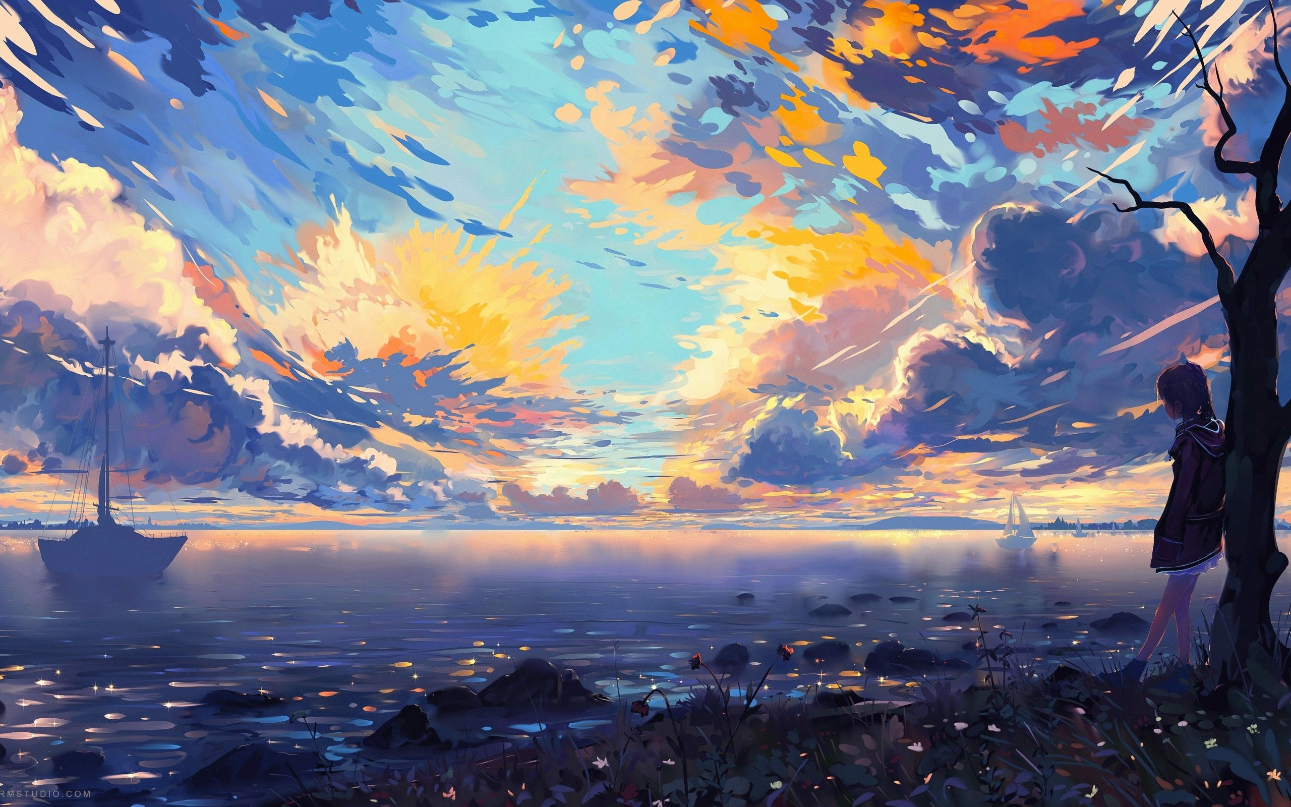 Colorful Anime Scenery Wallpapers Top Free Colorful Anime Scenery Backgrounds Wallpaperaccess
