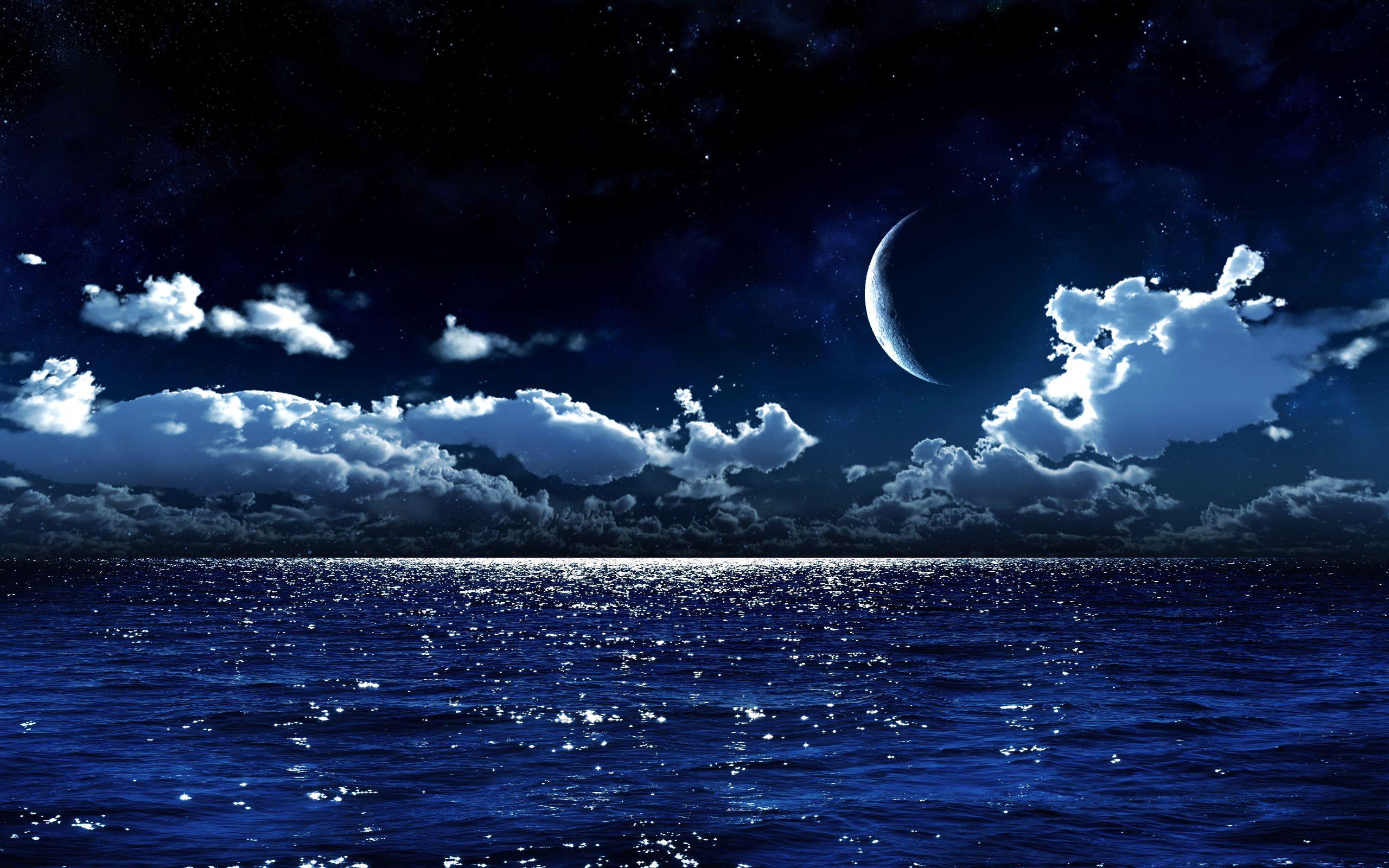 картинка ночное море и звезды