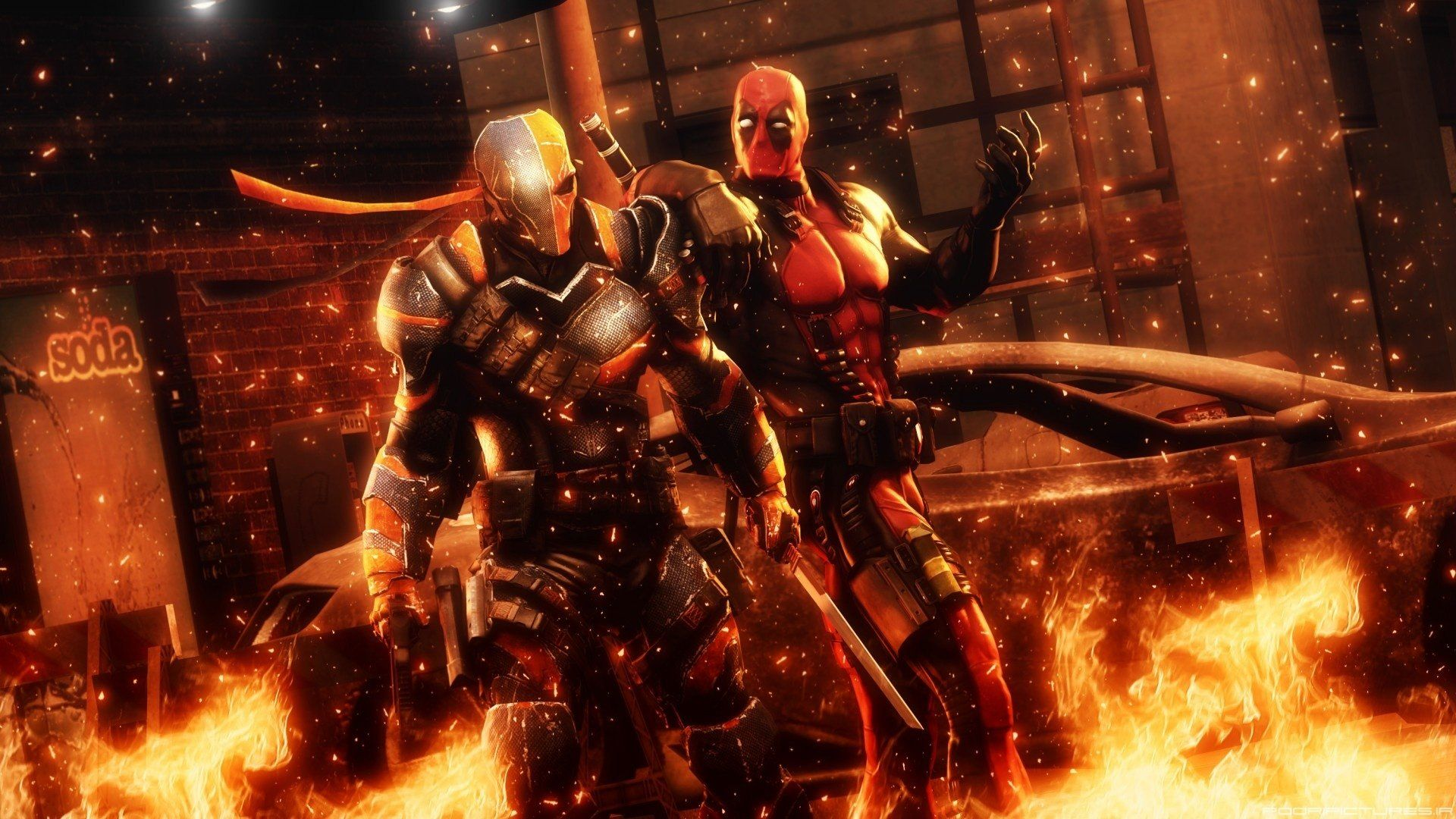 1920x1080 Deadpool Vs Deathstroke Full HD Wallpaper And Background Image