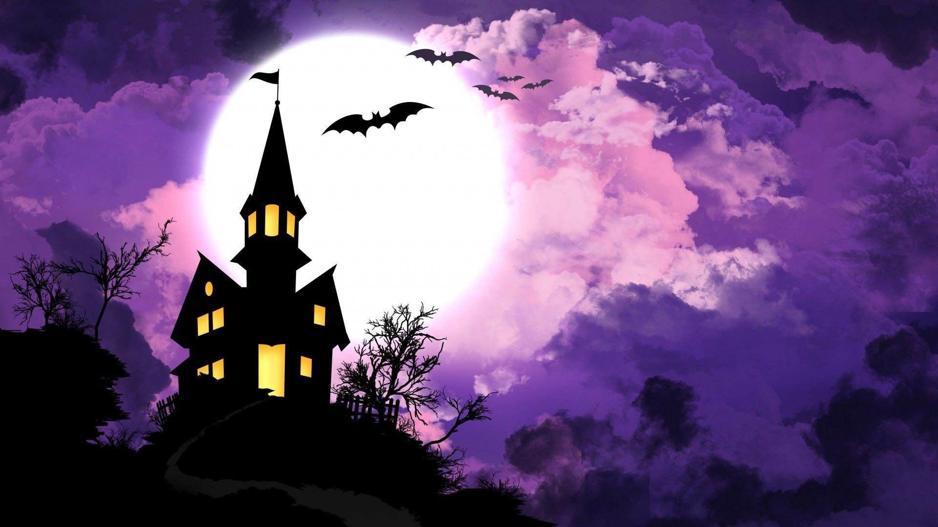 Purple Halloween Wallpapers Top Free Purple Halloween Backgrounds Wallpaperaccess