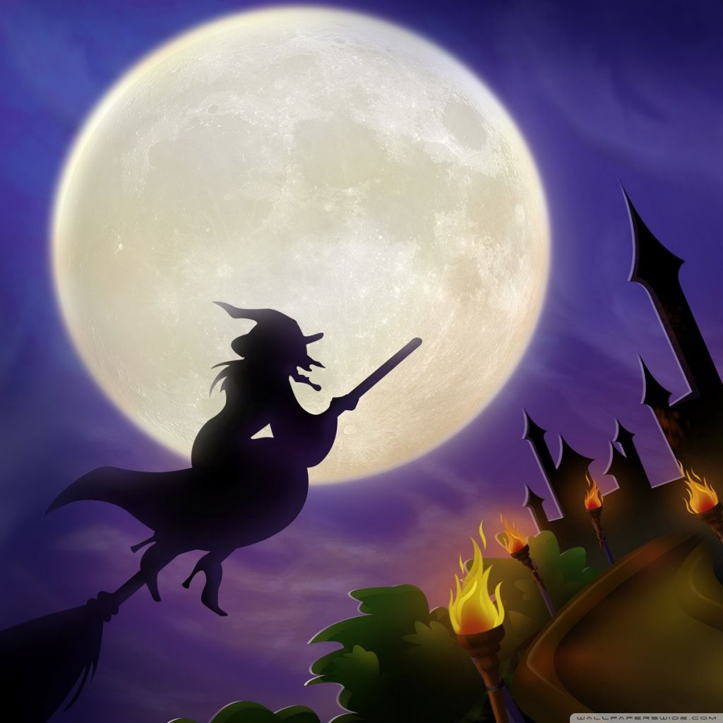 Wallpaper Cape, Witchs Broom, Witch, Emilia, Halloween