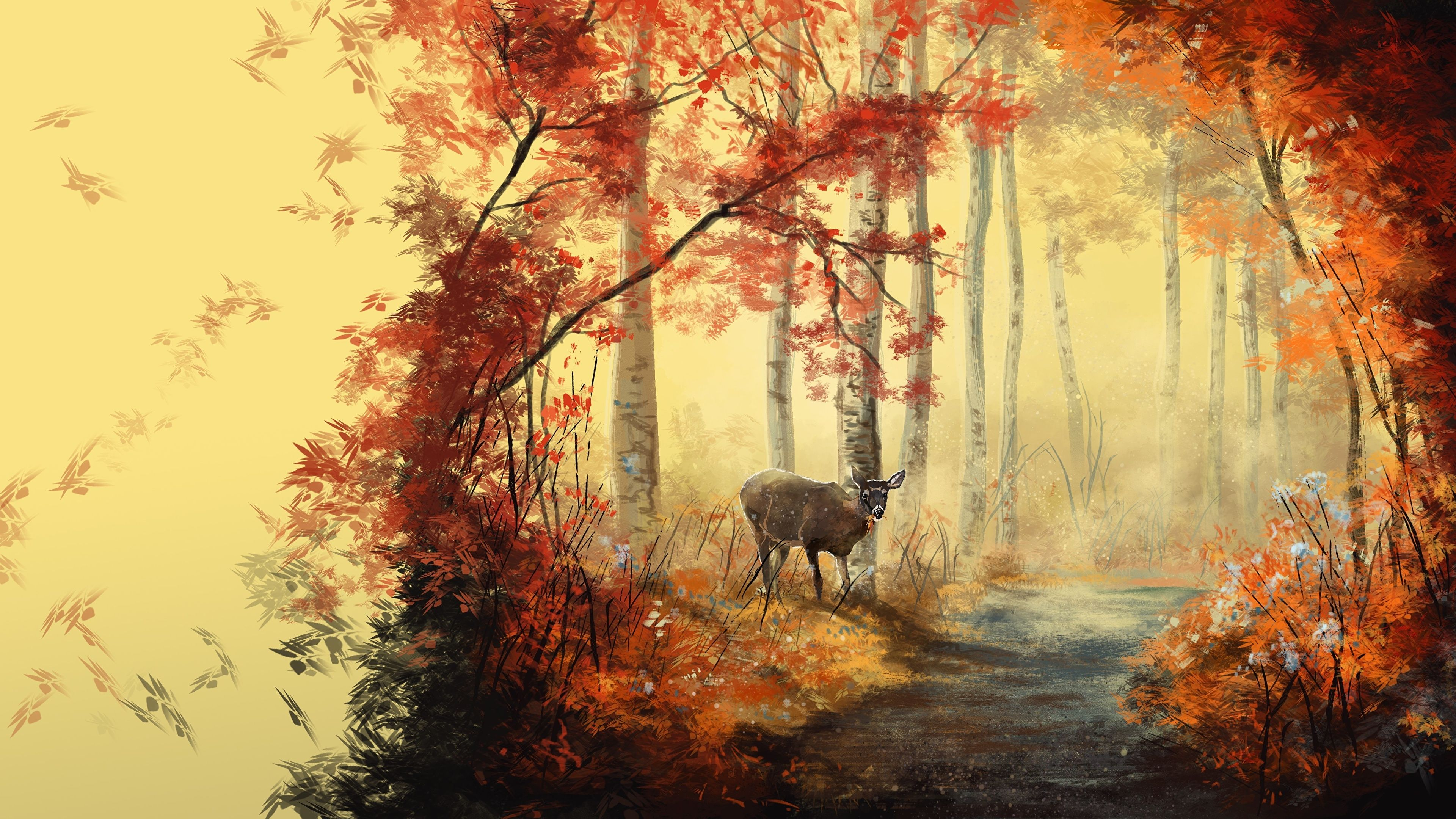 Autumn Animal Painting Wallpapers Top Free Autumn Animal Painting Backgrounds Wallpaperaccess