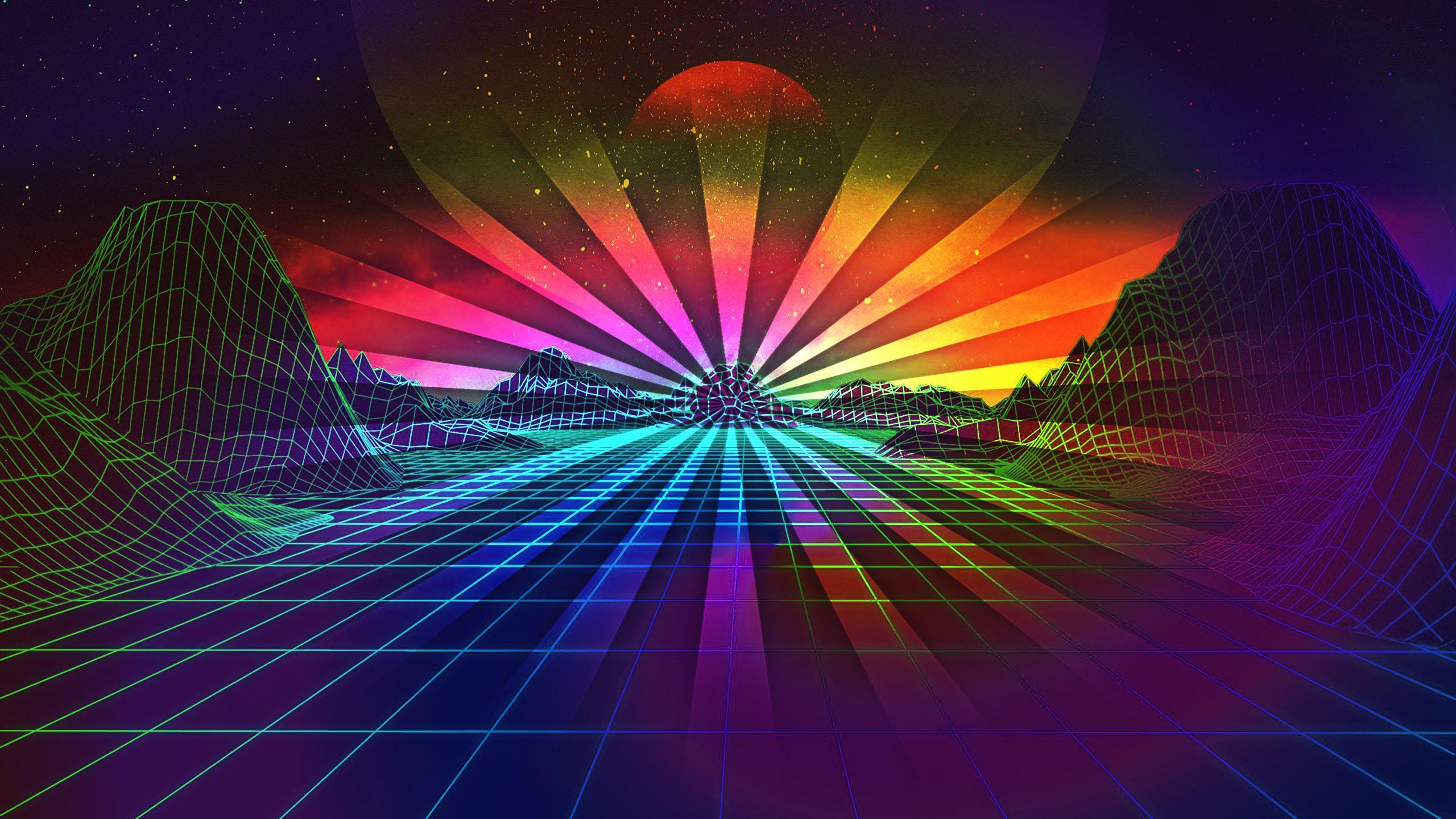2560x1440 Retro Rainbow 4K Hình nền cho màn hình máy tính để bàn hoặc điện thoại di động của bạn miễn phí