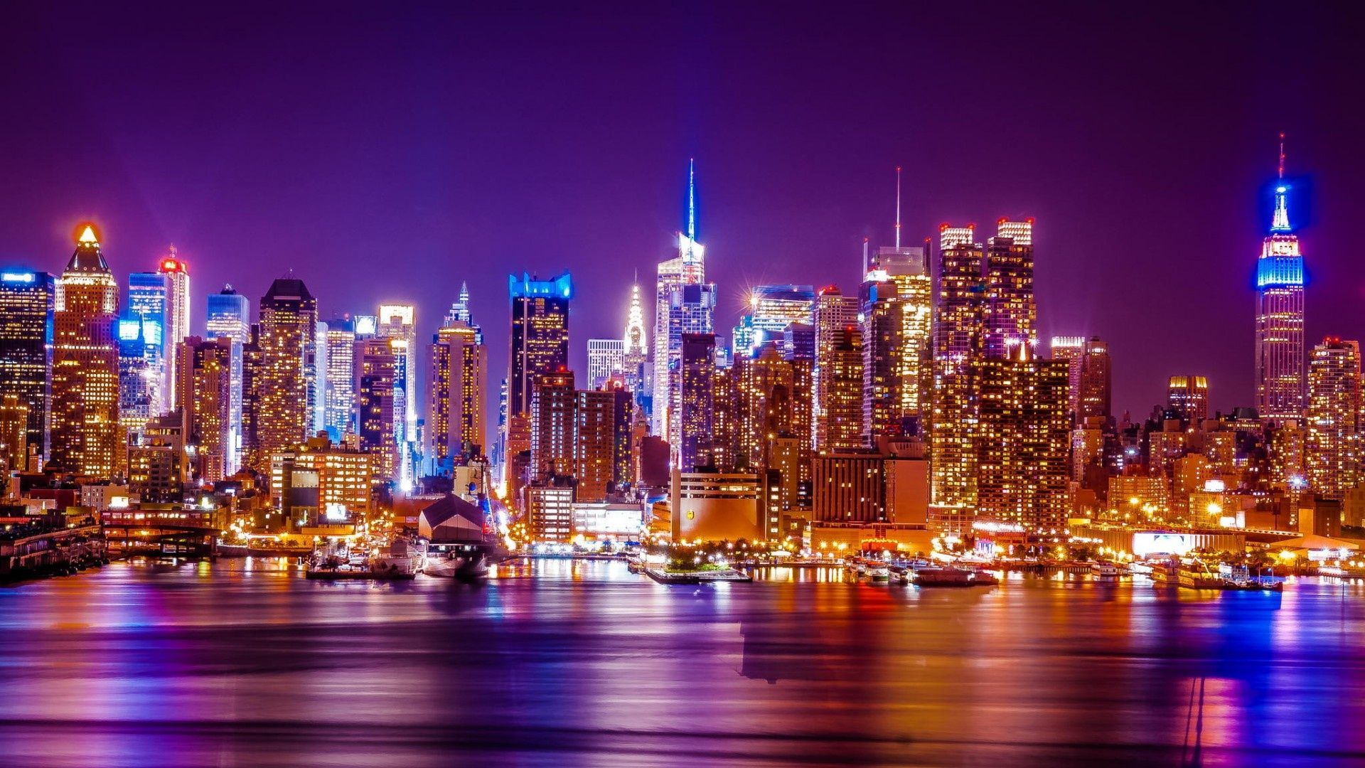New York City Lights Wallpapers Top Free New York City Lights Backgrounds Wallpaperaccess