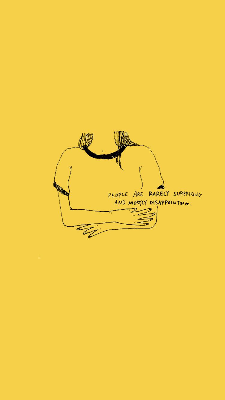 750x1334 Bản vẽ thẩm mỹ đơn giản màu vàng - Trên tường gỗ