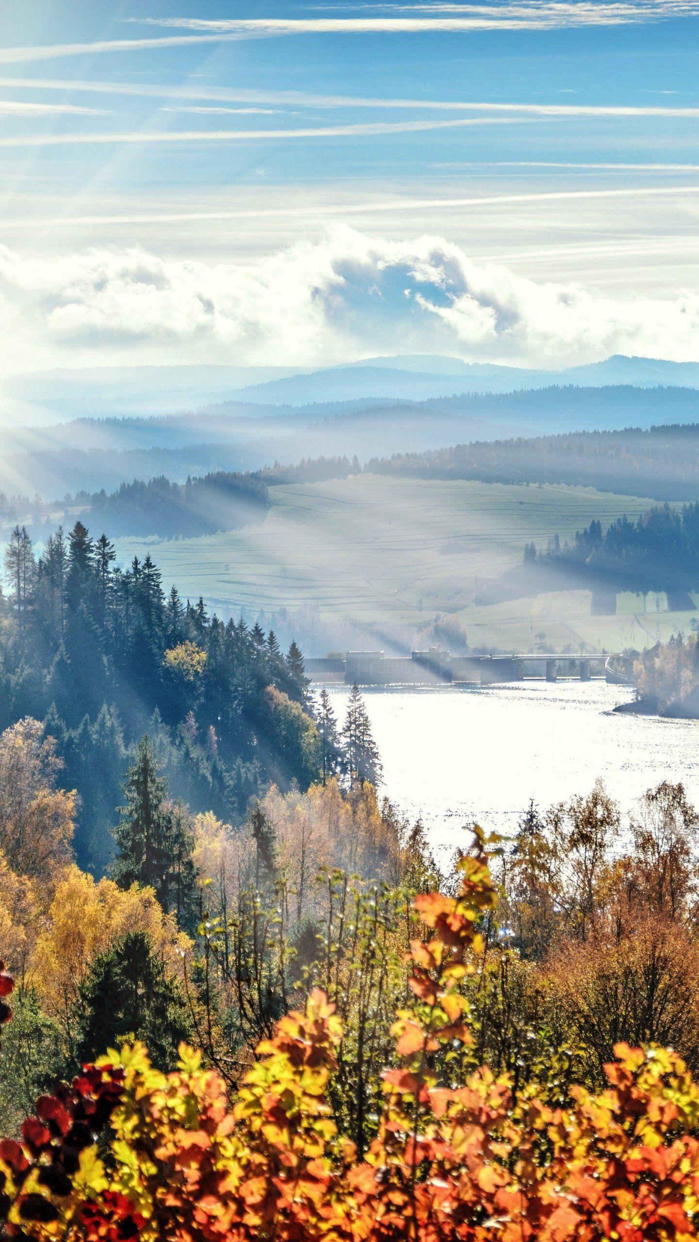 Hình nền cảnh sông rừng mùa thu 1440x2560 - iPhone, Android