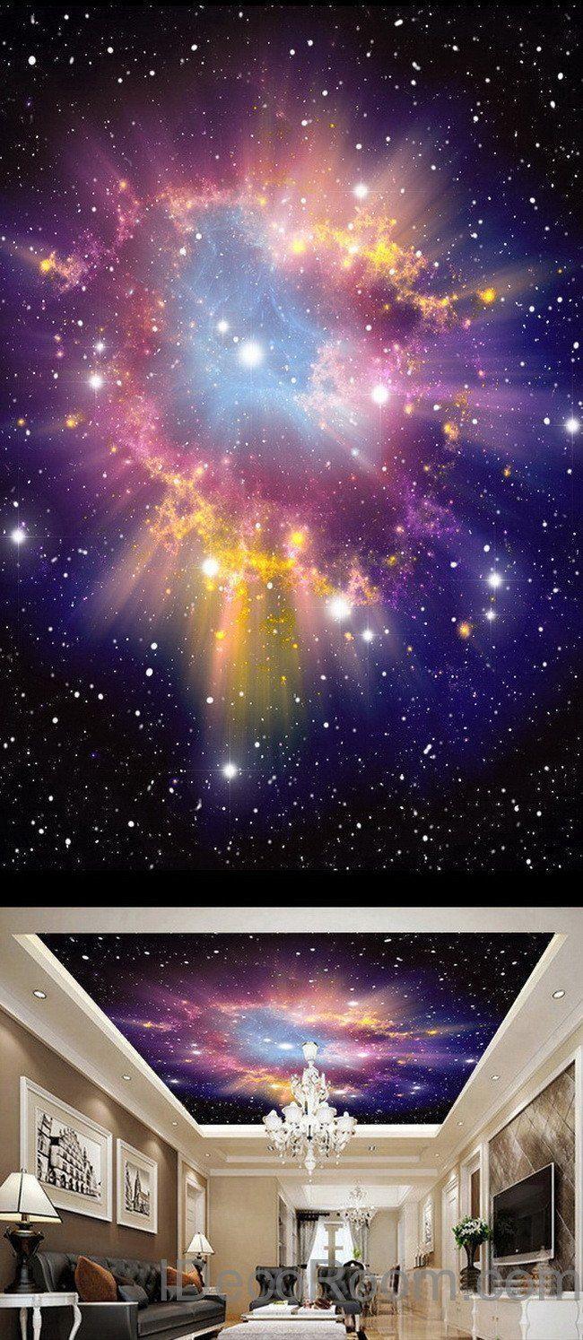 650x1494 3D Infinity Galaxy đầy màu sắc Tinh vân Trần tường Bức tranh tường Giấy dán tường