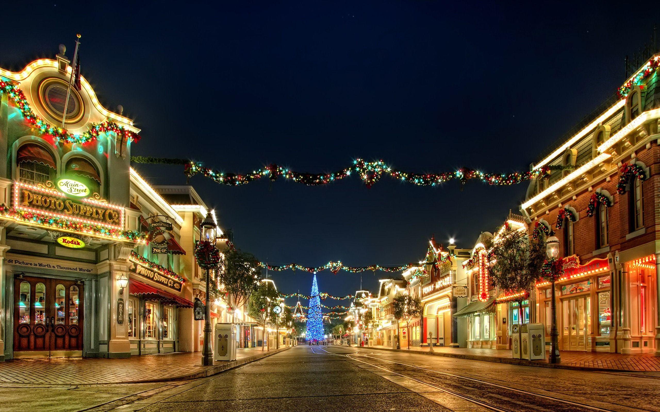 Hình nền trang trí đường phố Giáng sinh 2560x1600