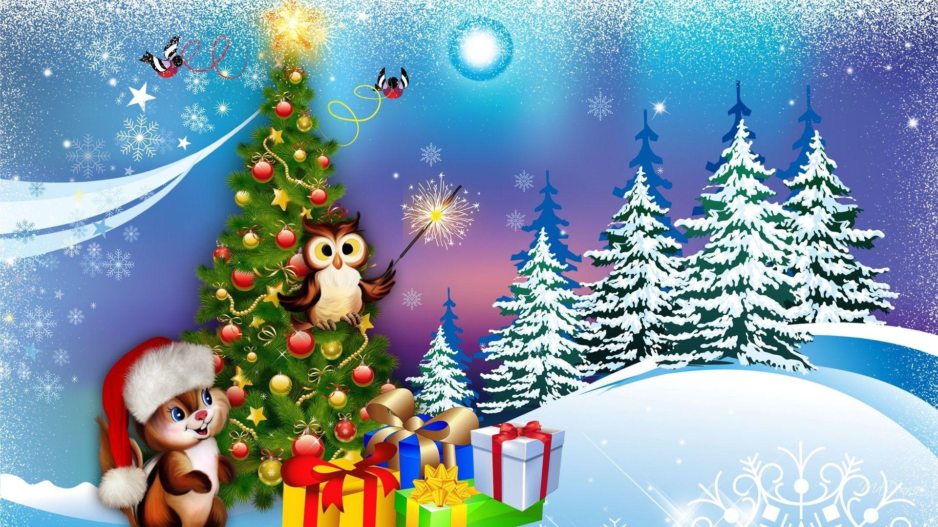 1920x1080 Hình nền PC miễn phí Christmas Owl