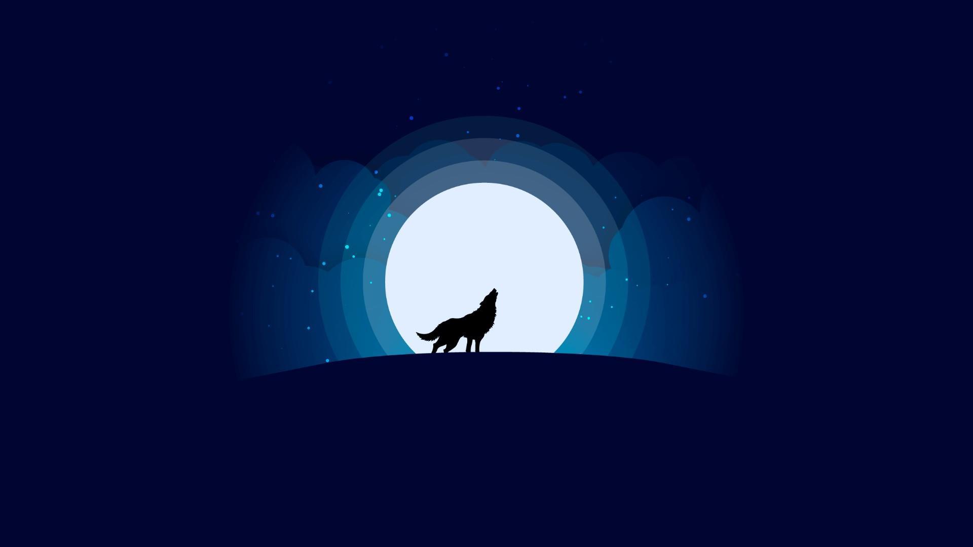 1920x1080 Wolf With Full Moon - Hình nền thiết kế tối giản.  Studio hình nền