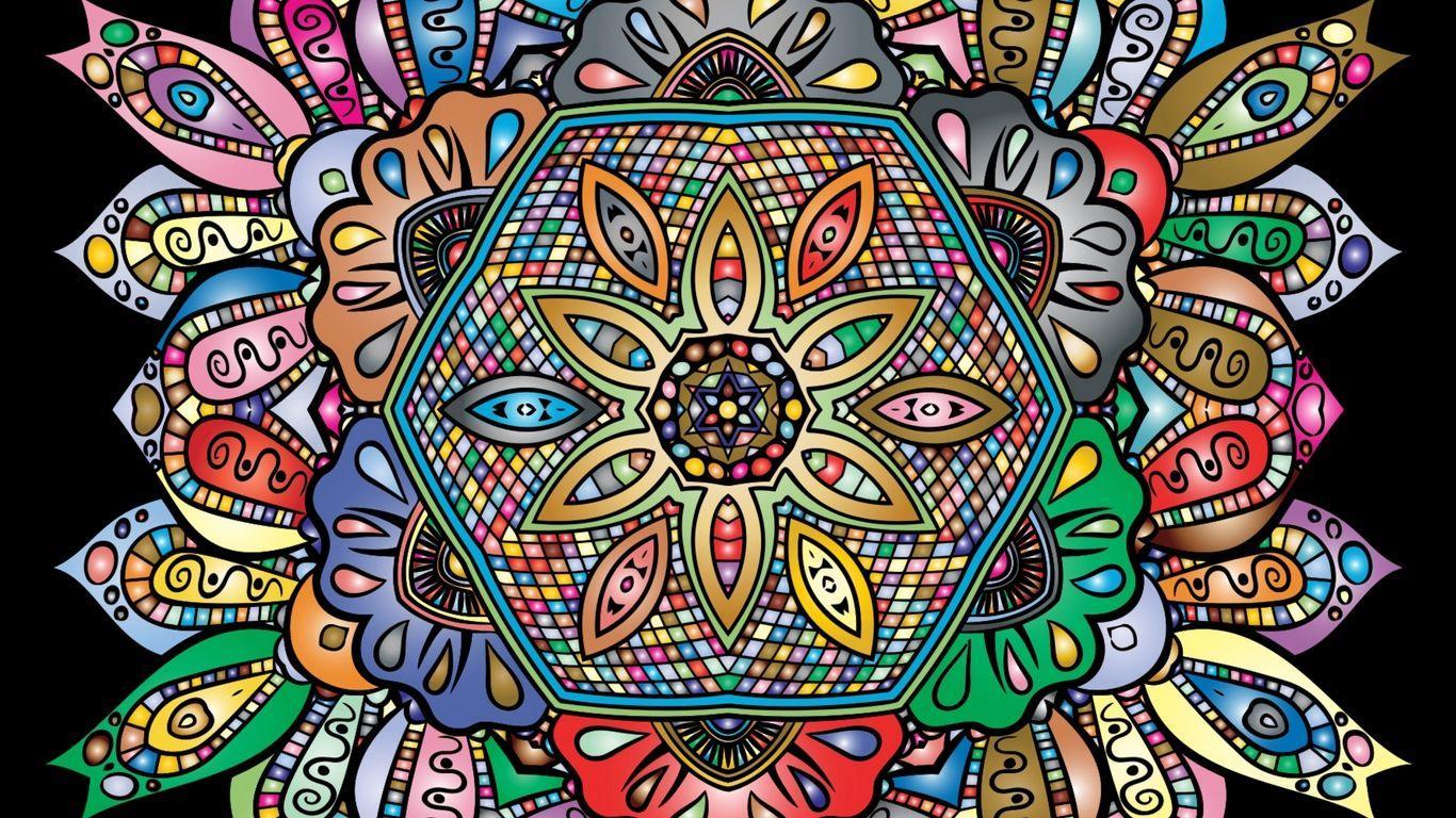 1366x768 Tải xuống hình nền 1366x768 mandala, hoa văn, đầy màu sắc