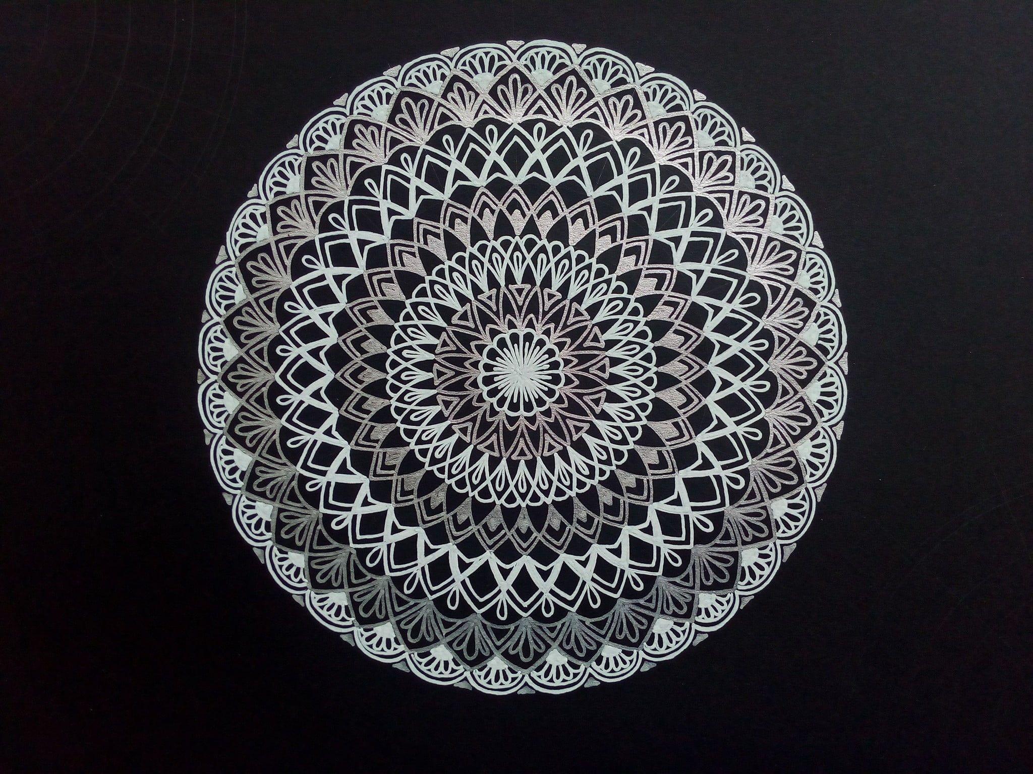 2048x1536 Minh họa hoa trắng và đen, mandala, tác phẩm nghệ thuật HD