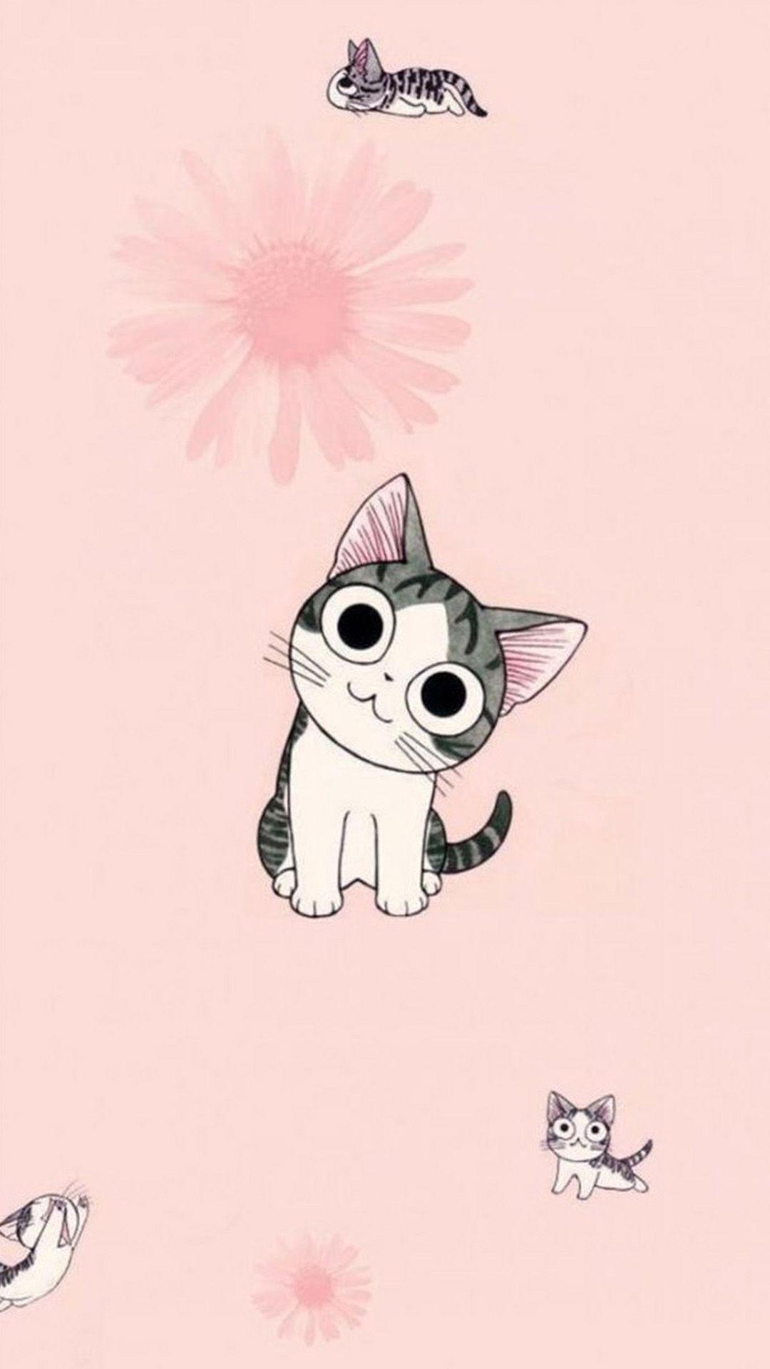 Kawaii Cartoon Cat Wallpapers Top Free Kawaii Cartoon Cat Backgrounds Wallpaperaccess