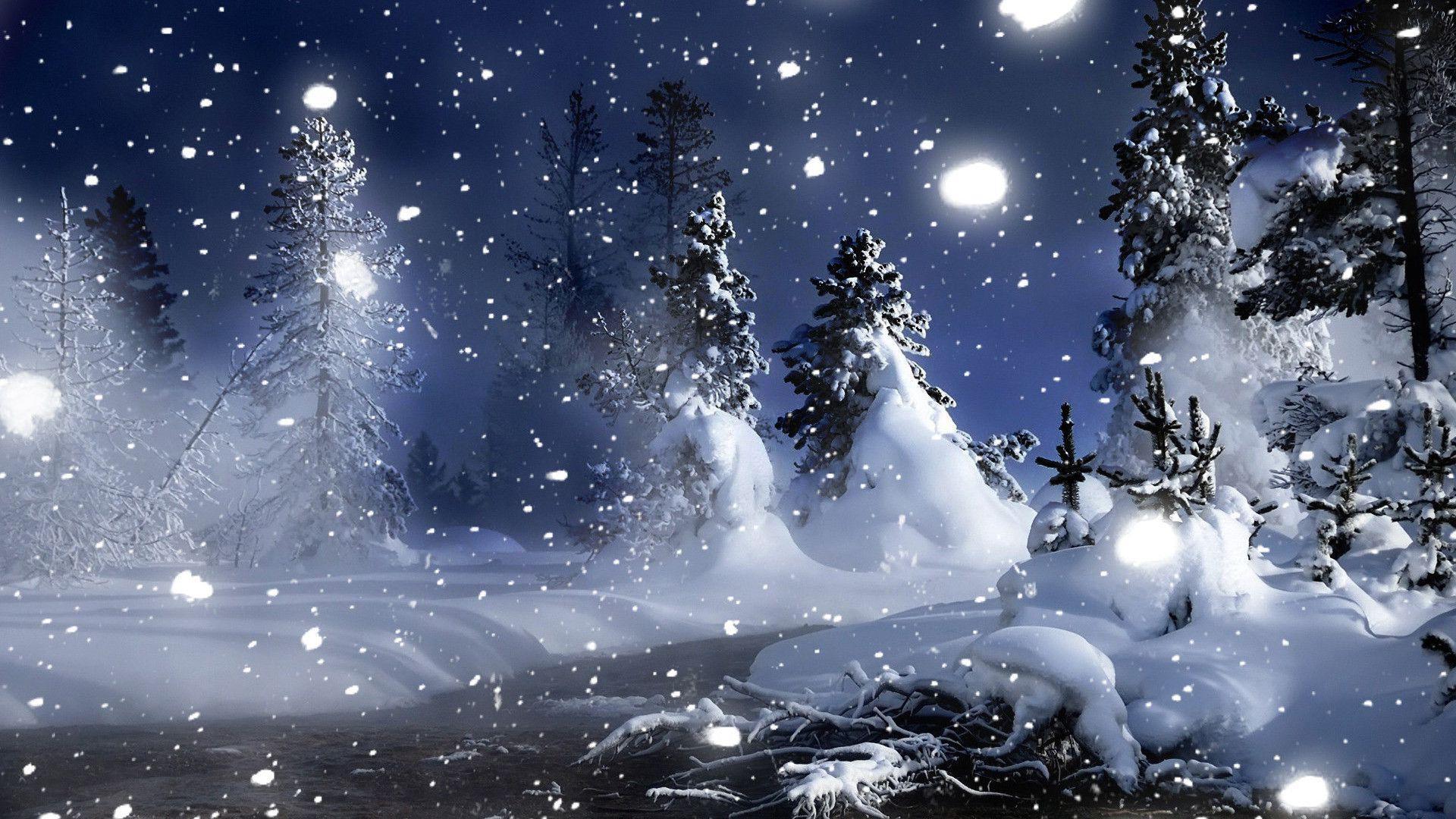 Download Snow Nighttime Wallpaper 1024x768   Wallpoper #373562