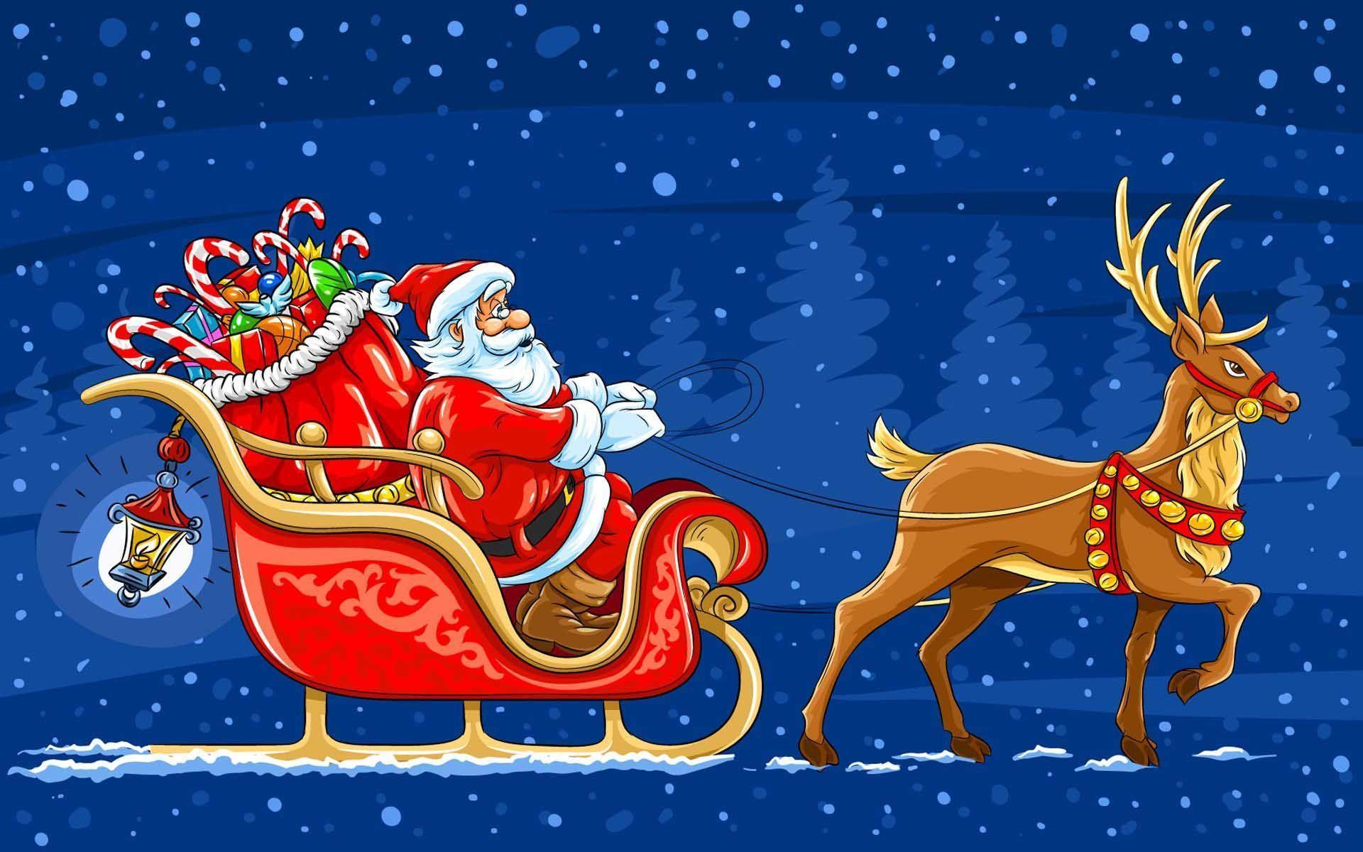 Santa And Reindeer Wallpapers Top Free Santa And Reindeer