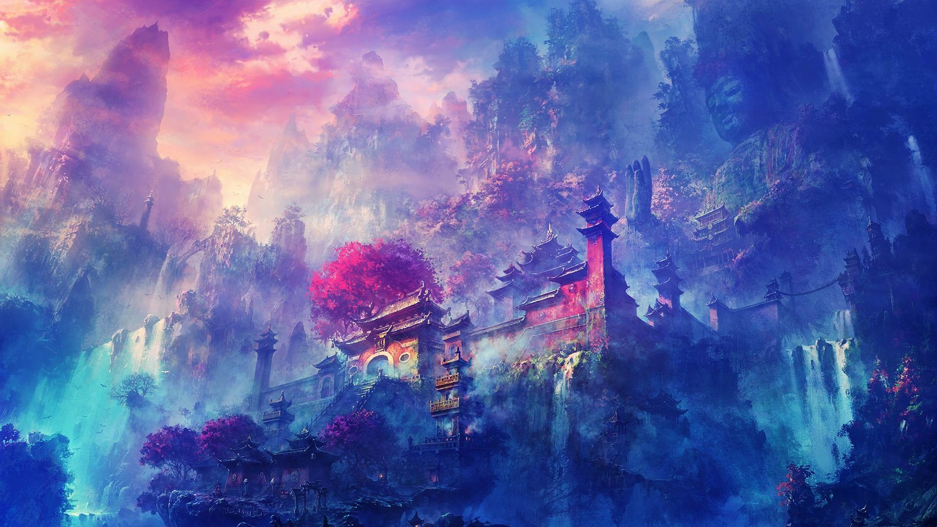 Big Anime Landscape Wallpapers Top Free Big Anime Landscape Backgrounds Wallpaperaccess