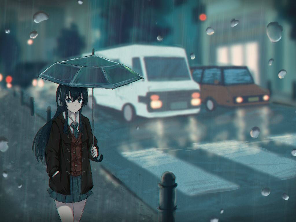 Rain umbrella wallpapers top free rain umbrella - Anime rain wallpaper ...
