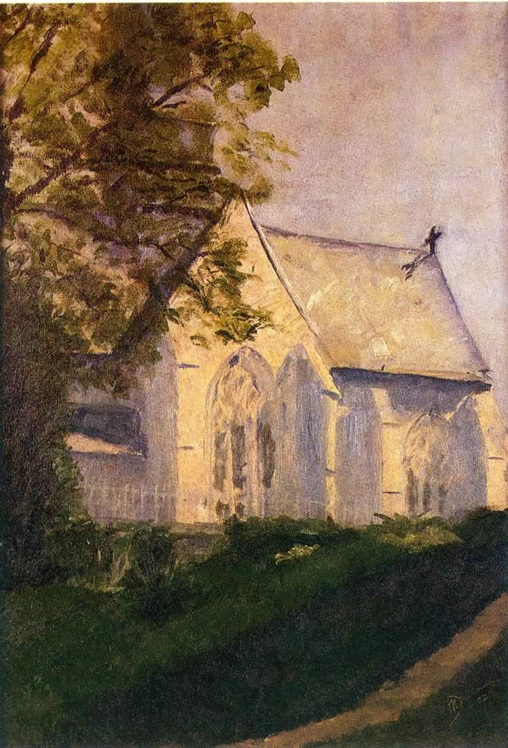 733x1080 Church At Blainville - Hình nền Marcel Duchamp