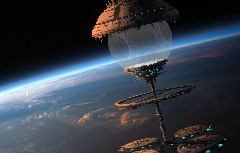Không gian hình nền 1332x850, Đám mây, tàu, Hành tinh, trái bóng, nhà ga