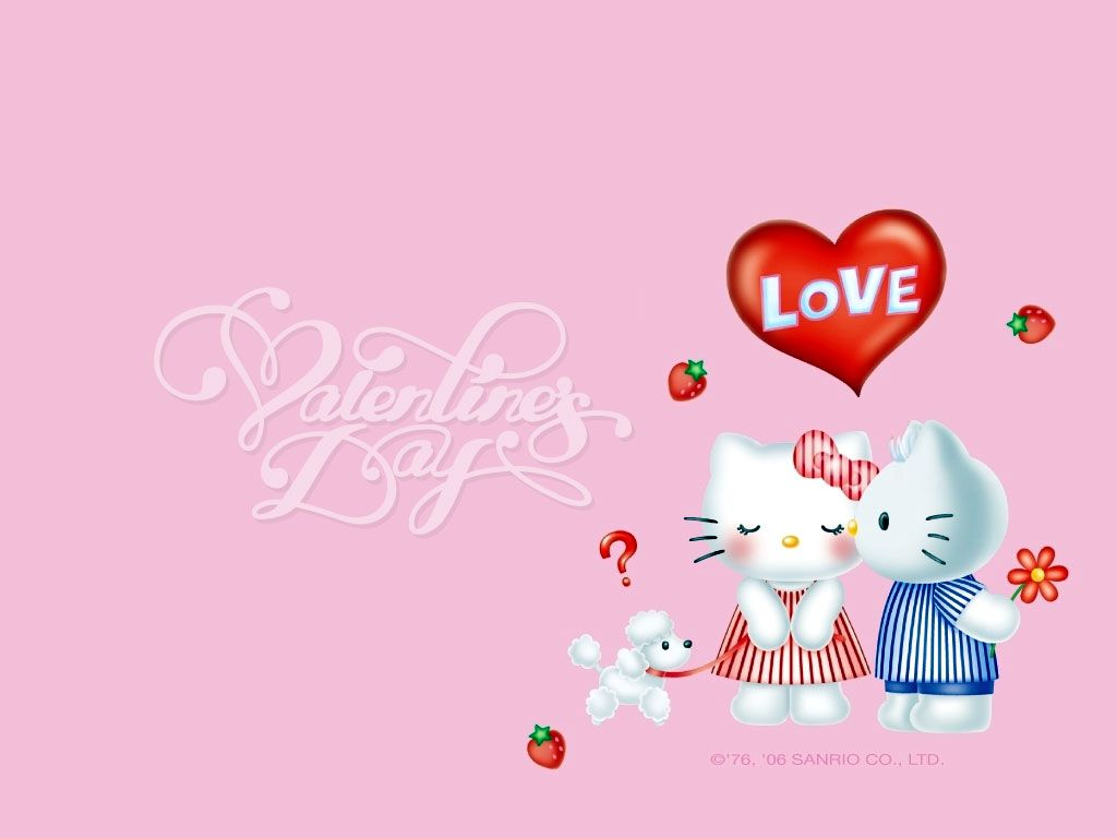 1024x768 Hello Kitty Valentines Day Wallpaper Download