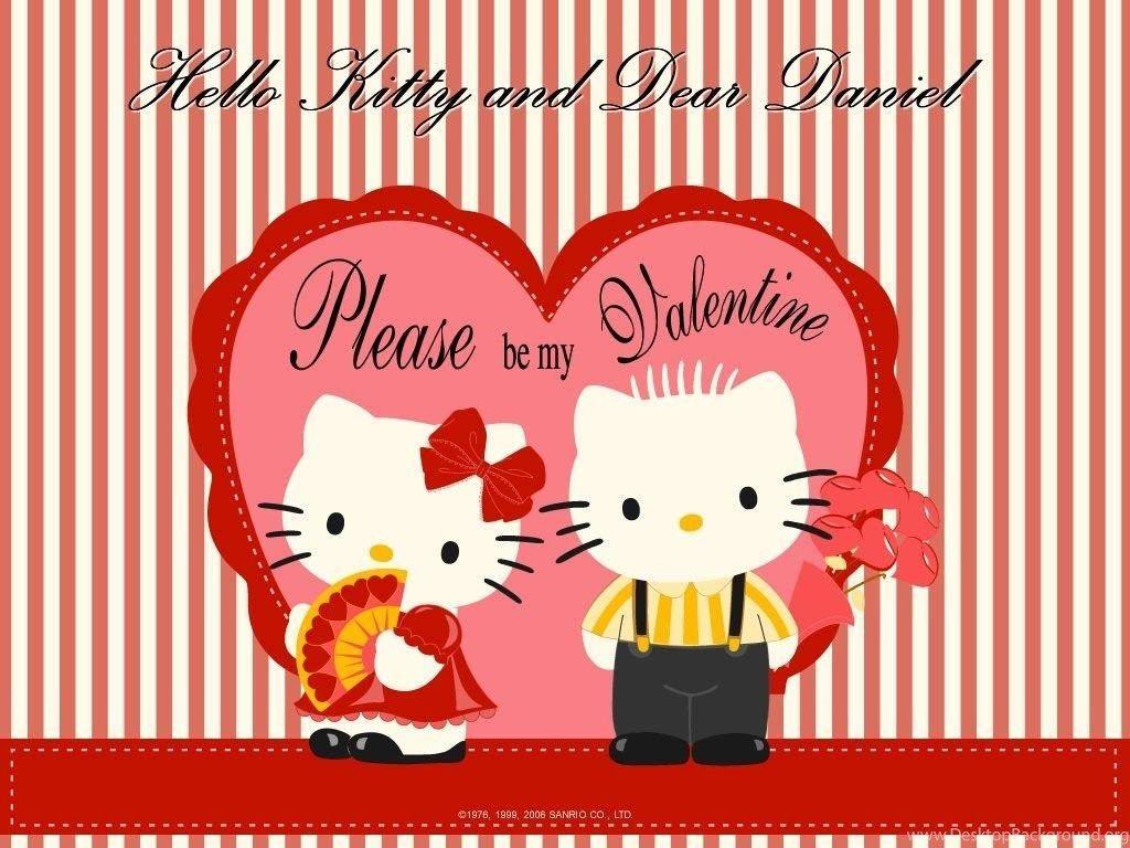 1024x768 Hello Kitty Valentine Wallpaper Desktop