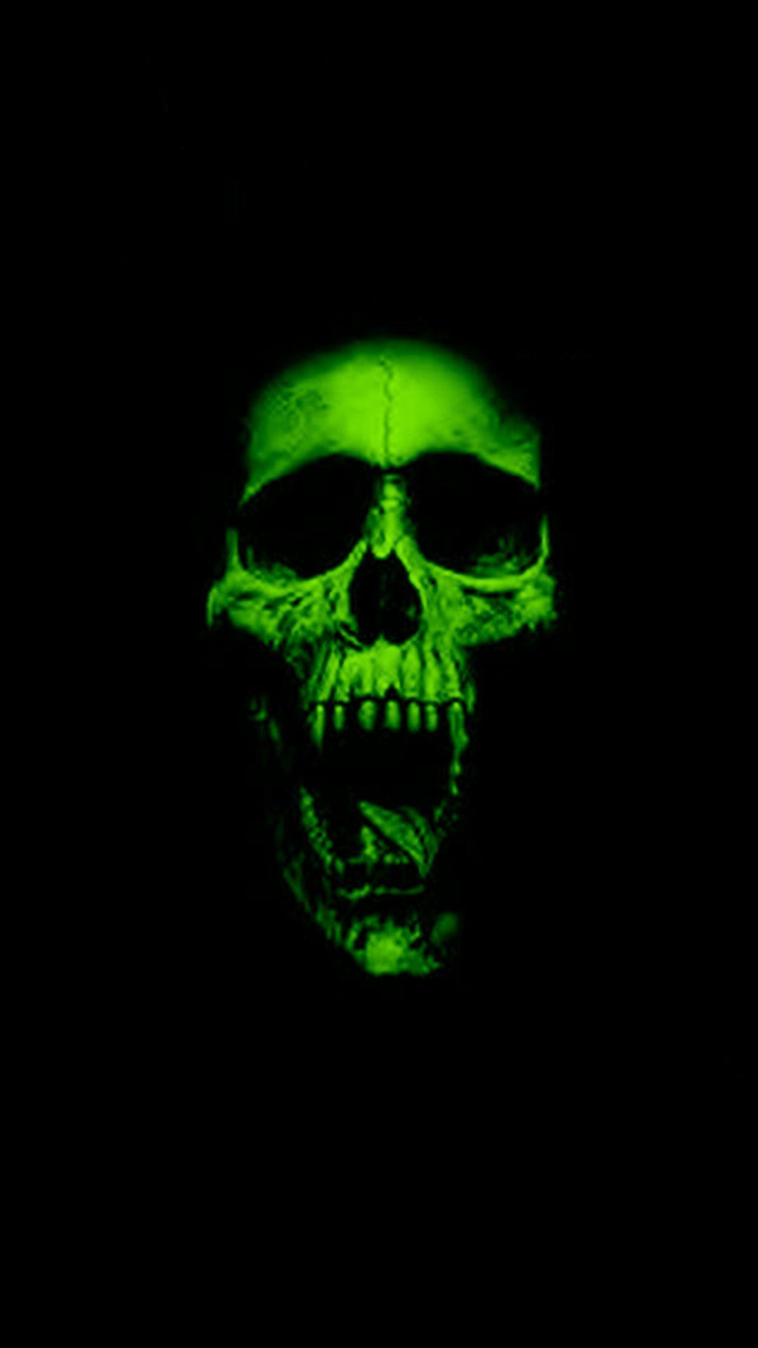 neon black wallpaper skull