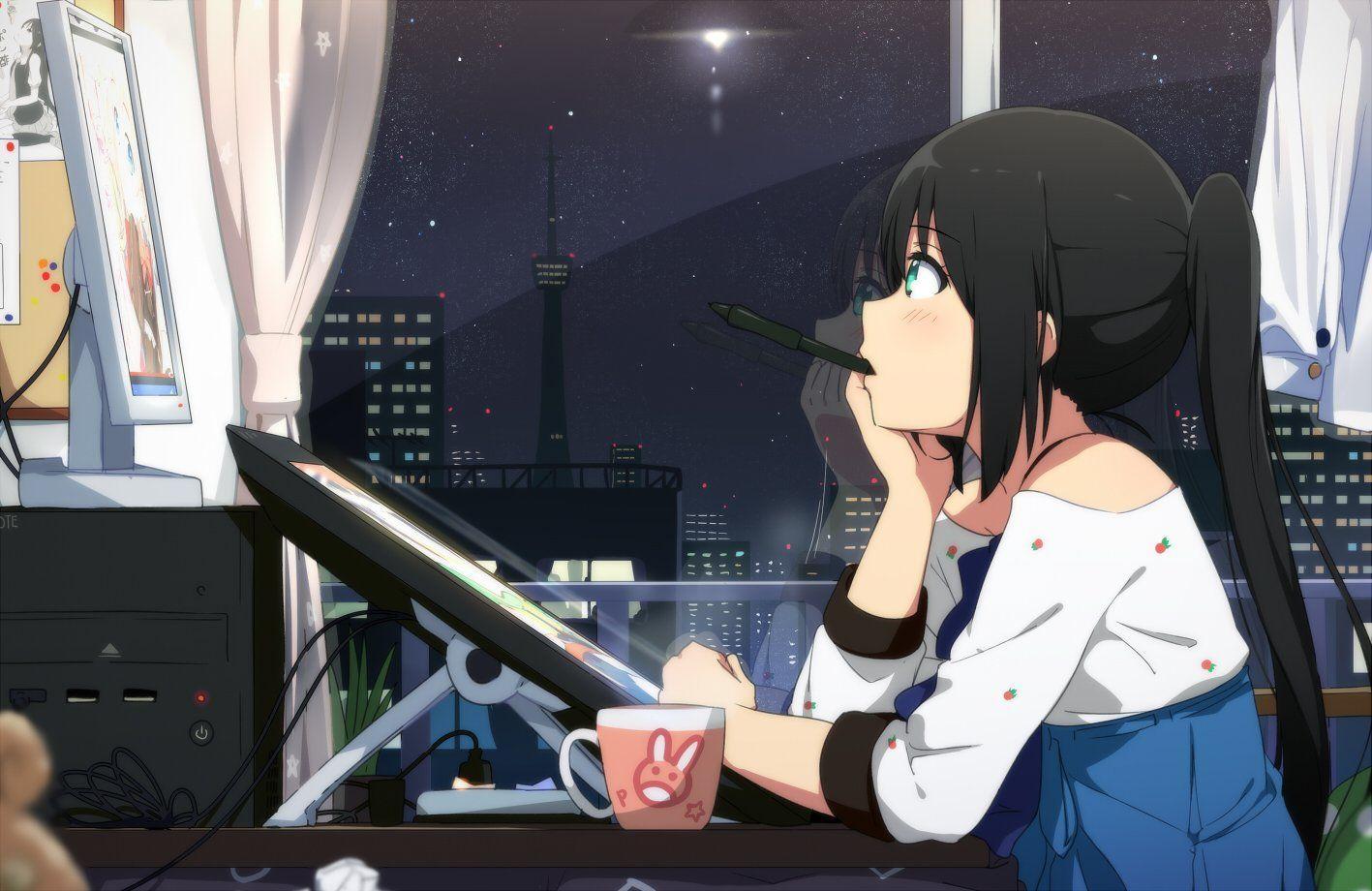 Anime Girl Drinking Coffee