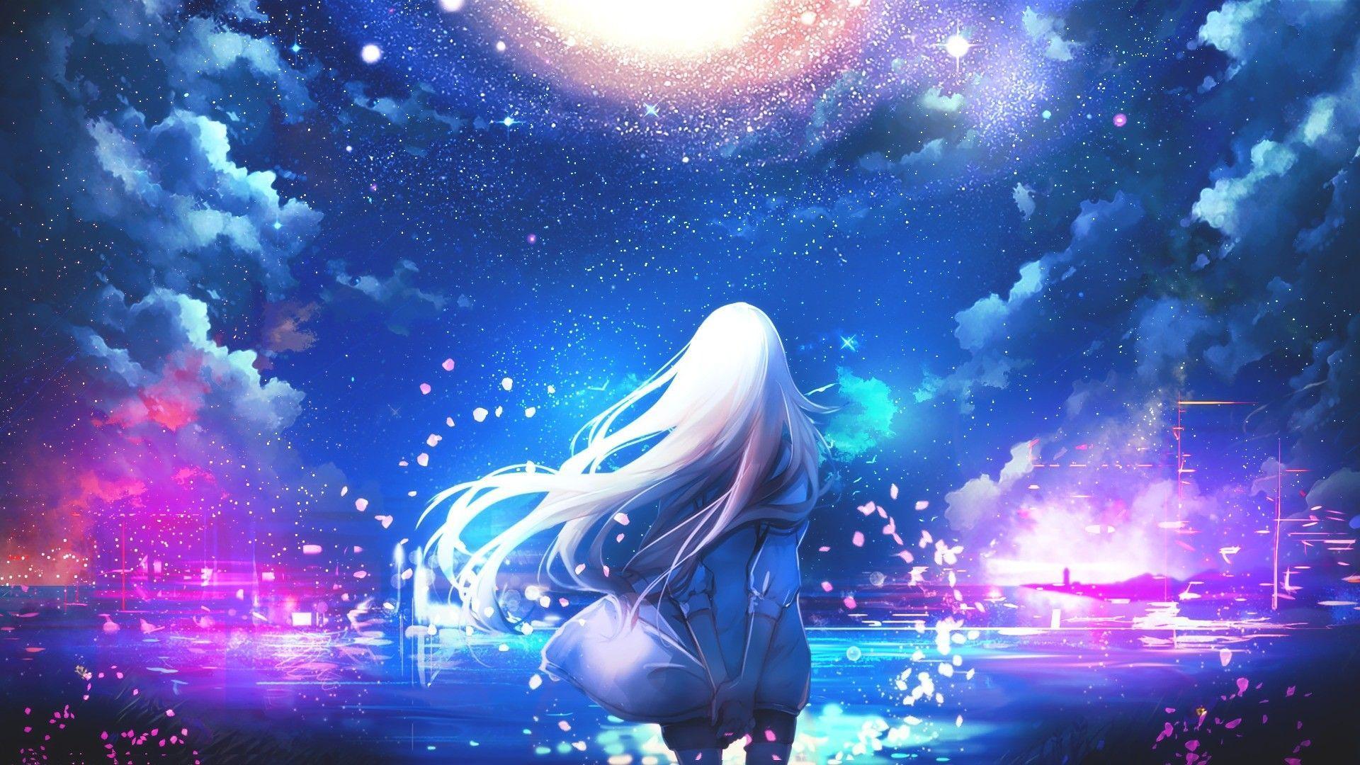 Anime night sky wallpapers top free anime night sky - Anime sky background ...
