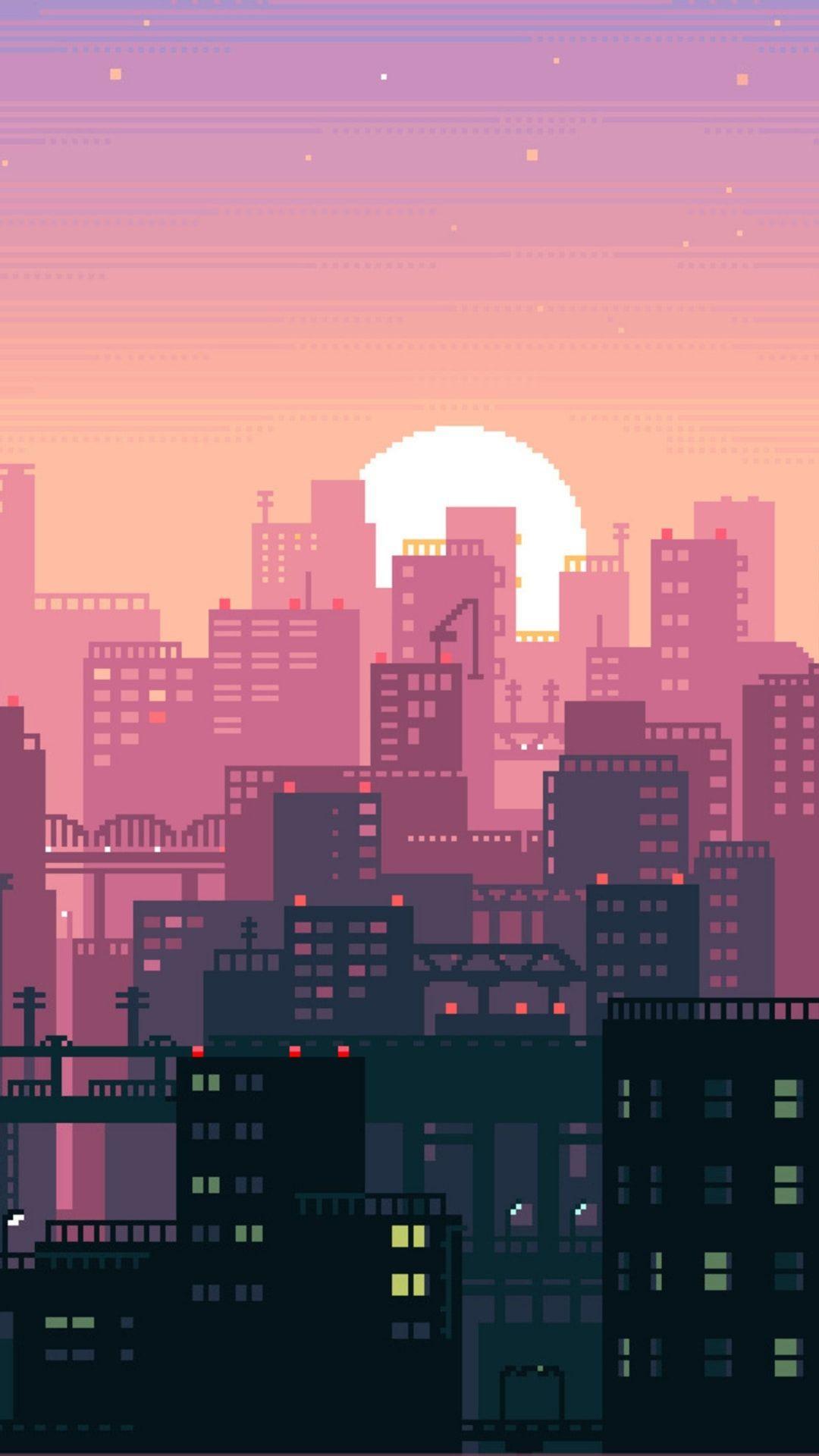 Pixel City Wallpapers Top Free Pixel City Backgrounds Wallpaperaccess