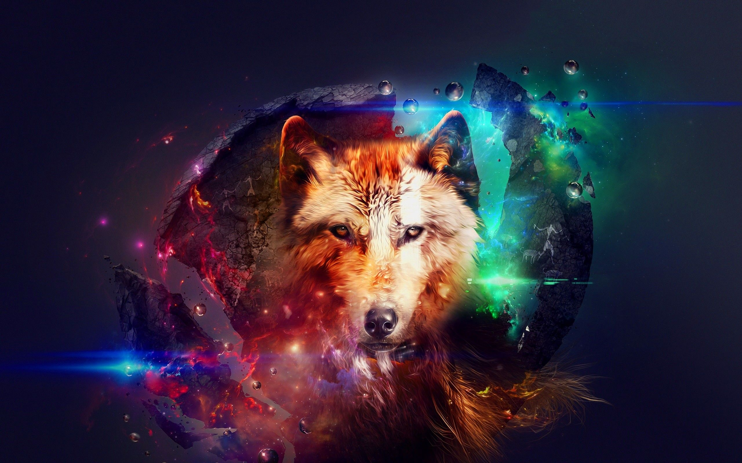 Galaxy Wolf Wallpapers Top Free Galaxy Wolf Backgrounds Wallpaperaccess