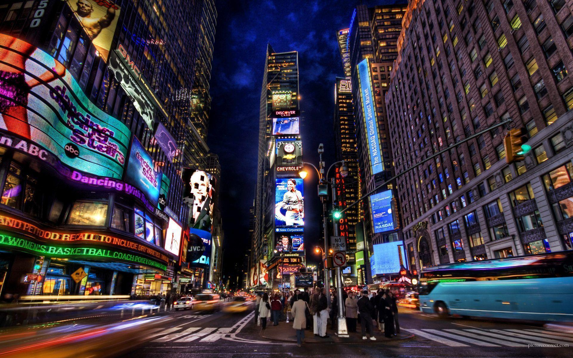 Обои rain dance, Times square, ночь, Nyc, new york. Города foto 16