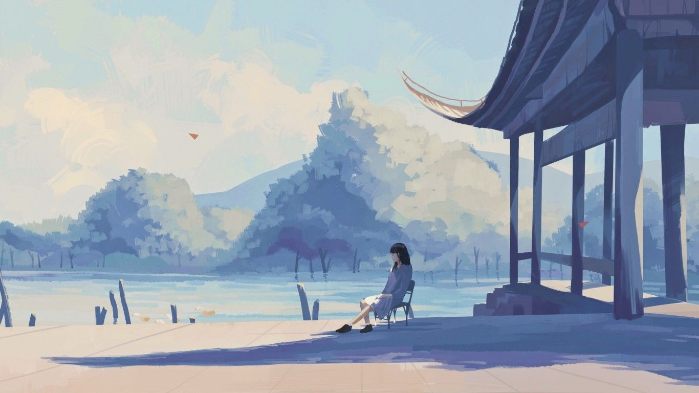 blue anime aesthetic laptop wallpaper