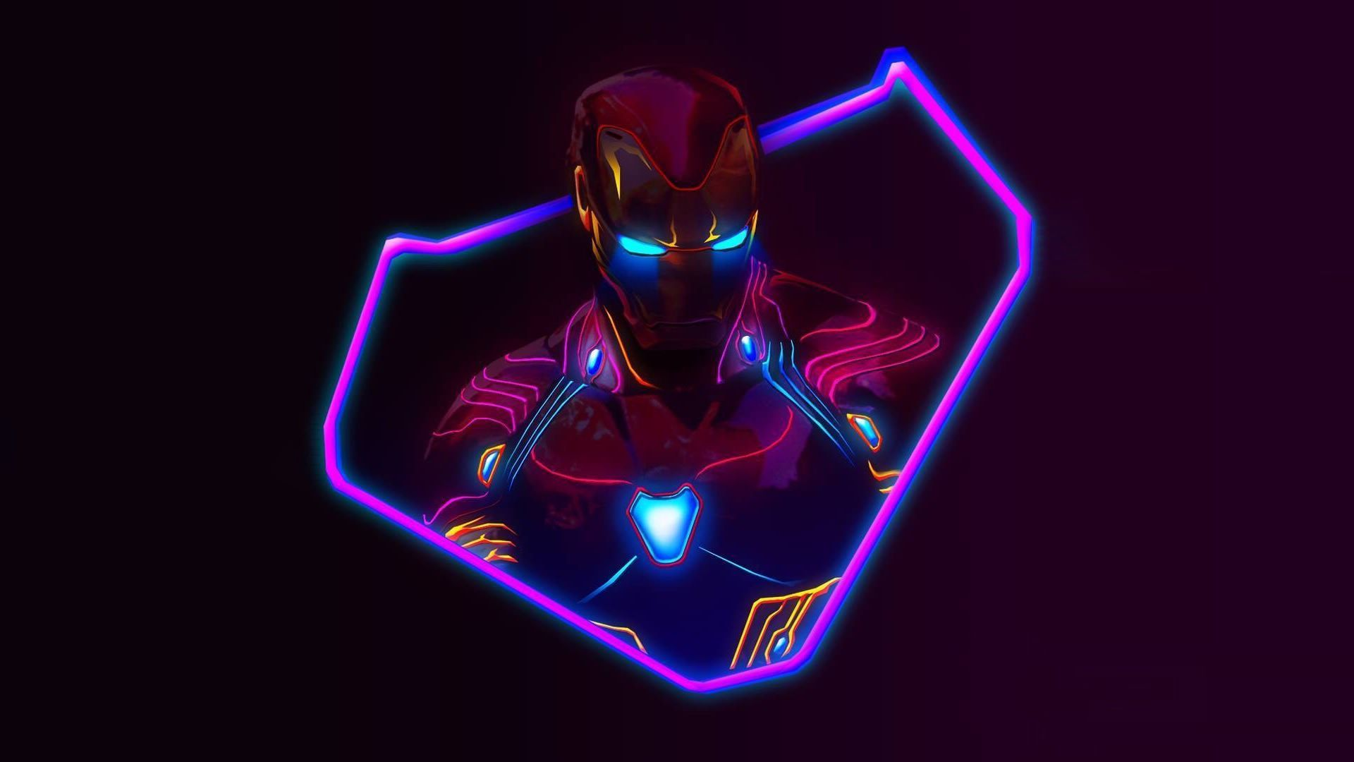Iron Man Neon Wallpaper 4k