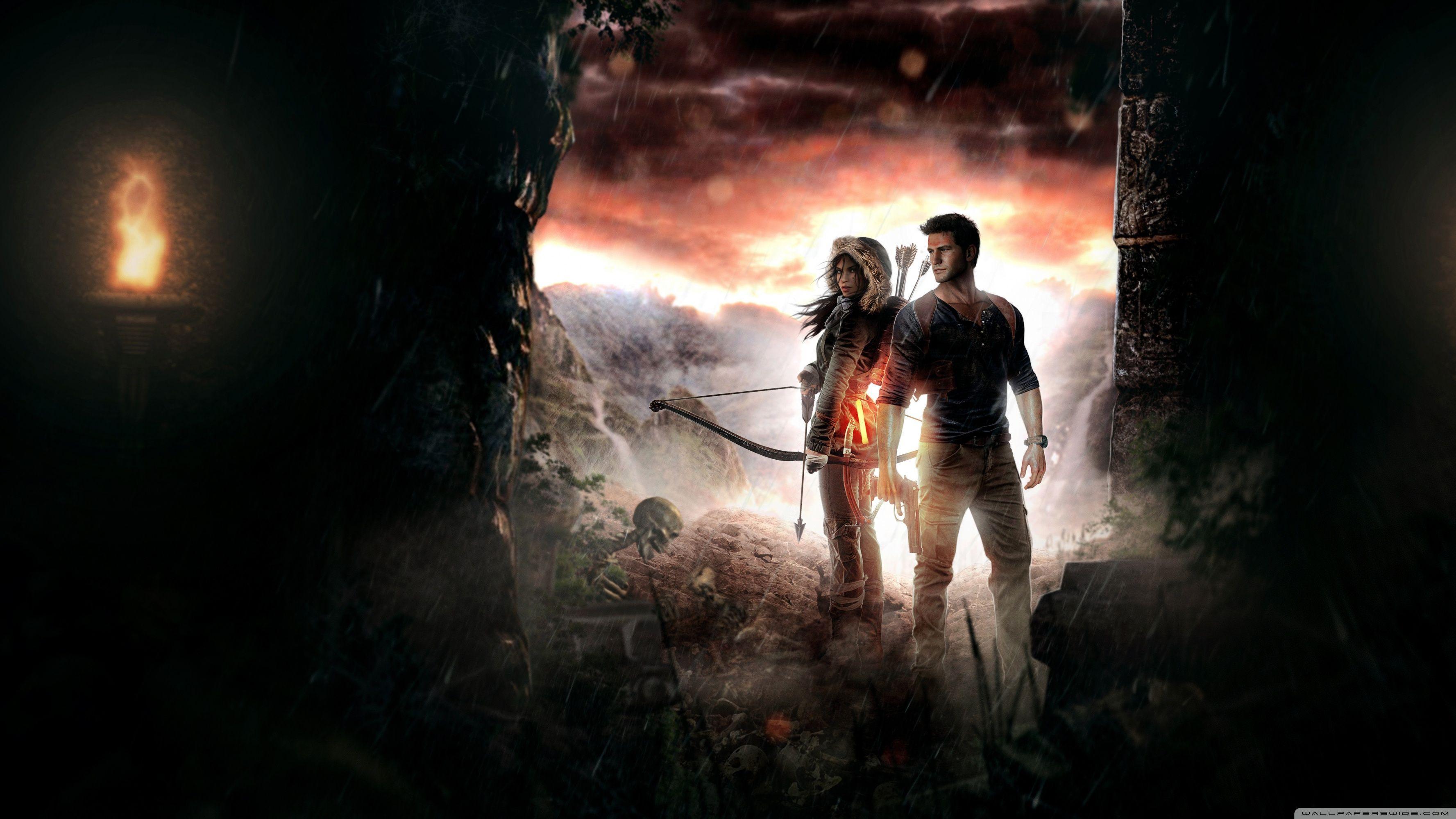 Lara Croft Nathan Drake Wallpapers Top Free Lara Croft Nathan