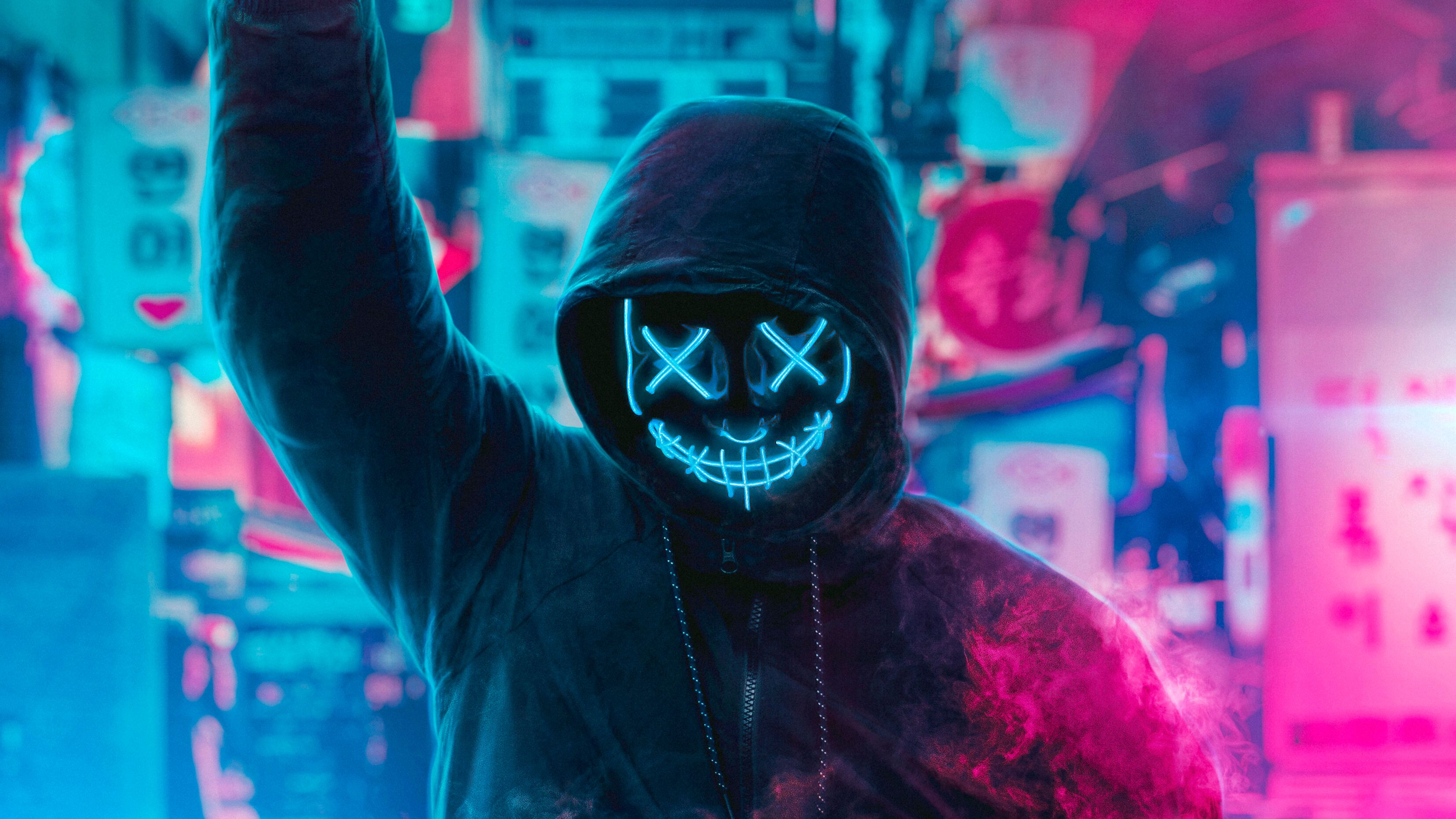 Neon Mask Wallpapers Top Free Neon Mask Backgrounds Wallpaperaccess