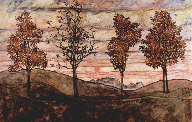 Hình nền 1332x850 1917, Egon Schiele, Hình ảnh bốn cây cho máy tính để bàn